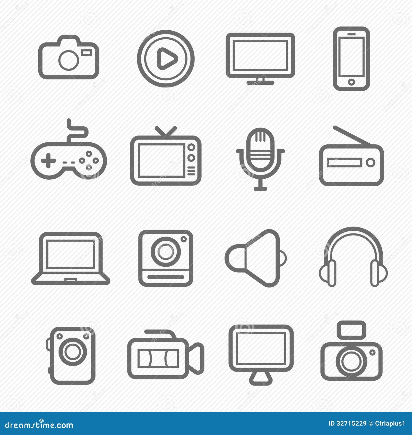 Línea icono del símbolo del dispositivo y de las multimedias