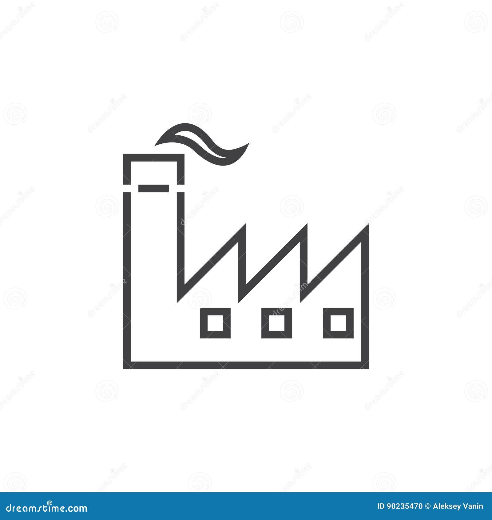 Línea icono, ejemplo del logotipo del esquema de la industria, li de la fábrica
