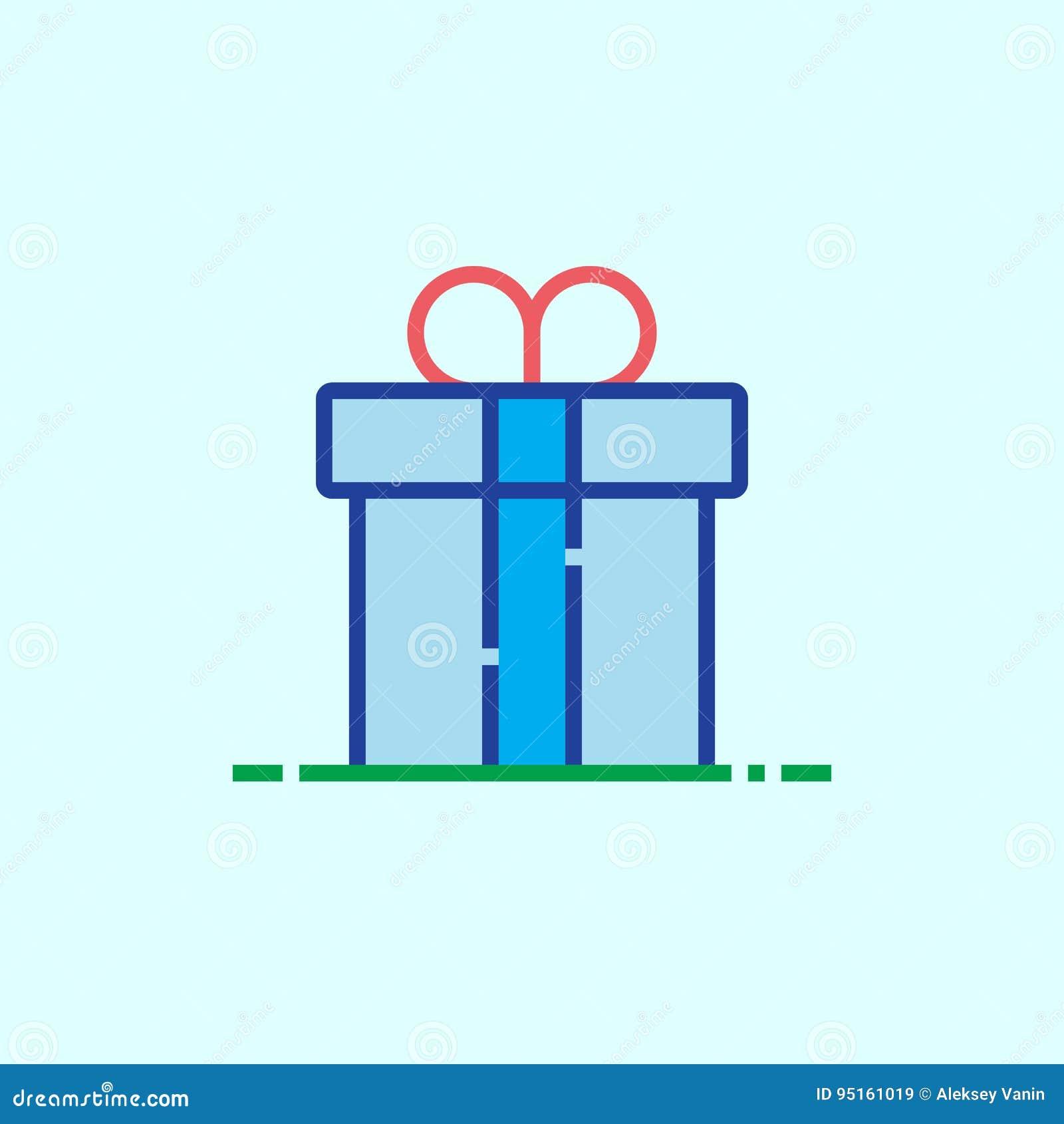 Línea icono, ejemplo del logotipo del vector del esquema, cuesta linear de la caja de regalo