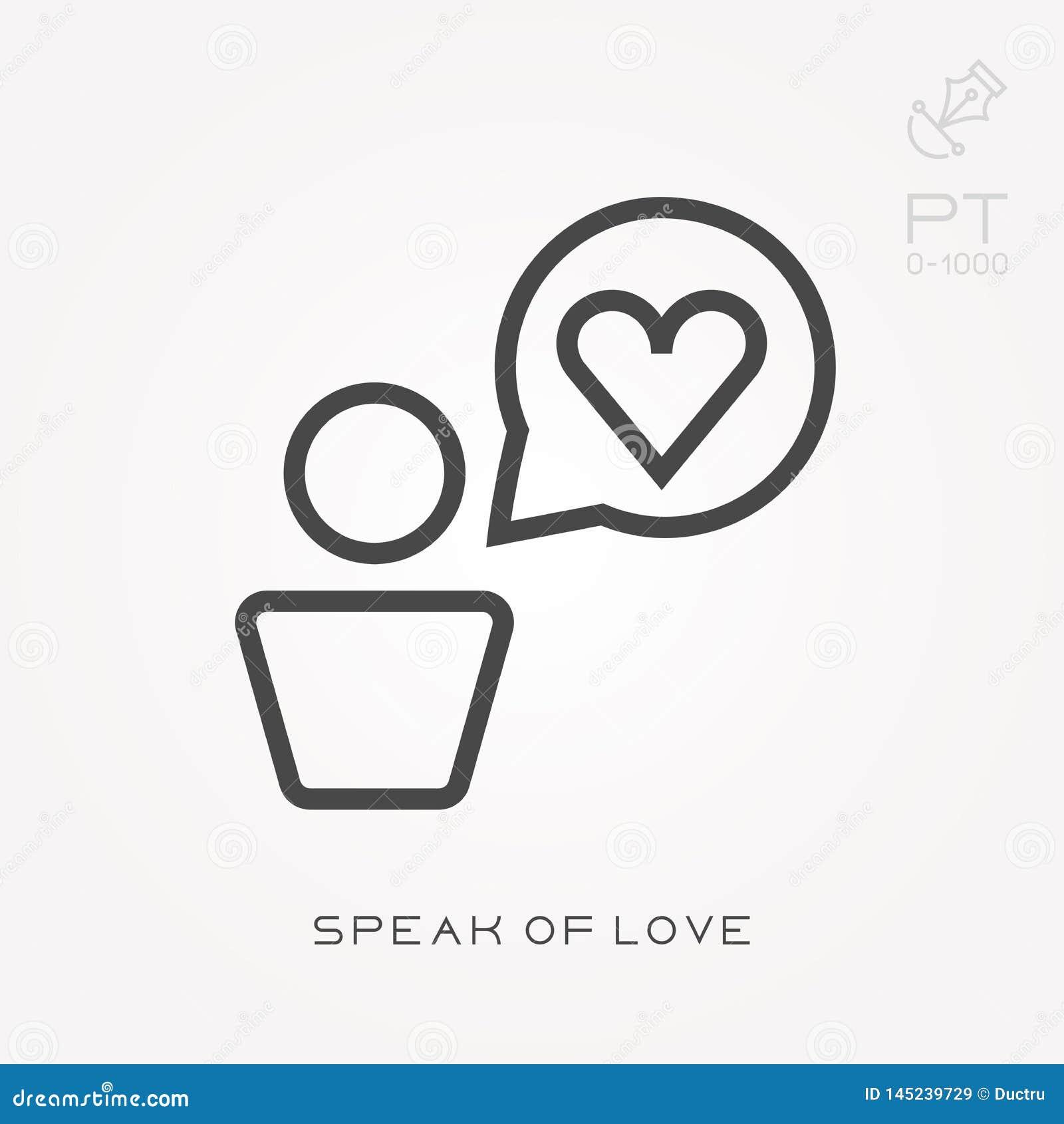 L?nea icono hablar de amor