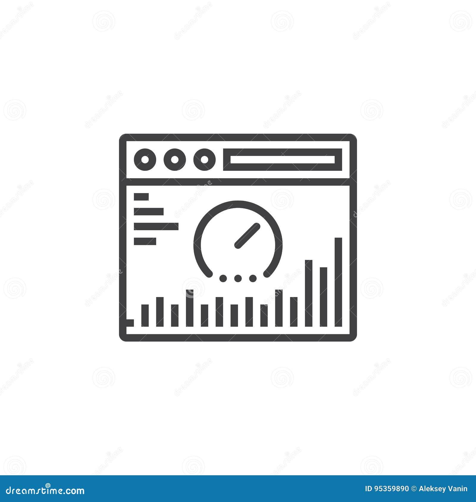 Línea icono, muestra del vector del esquema, pictogra linear del análisis del sitio web
