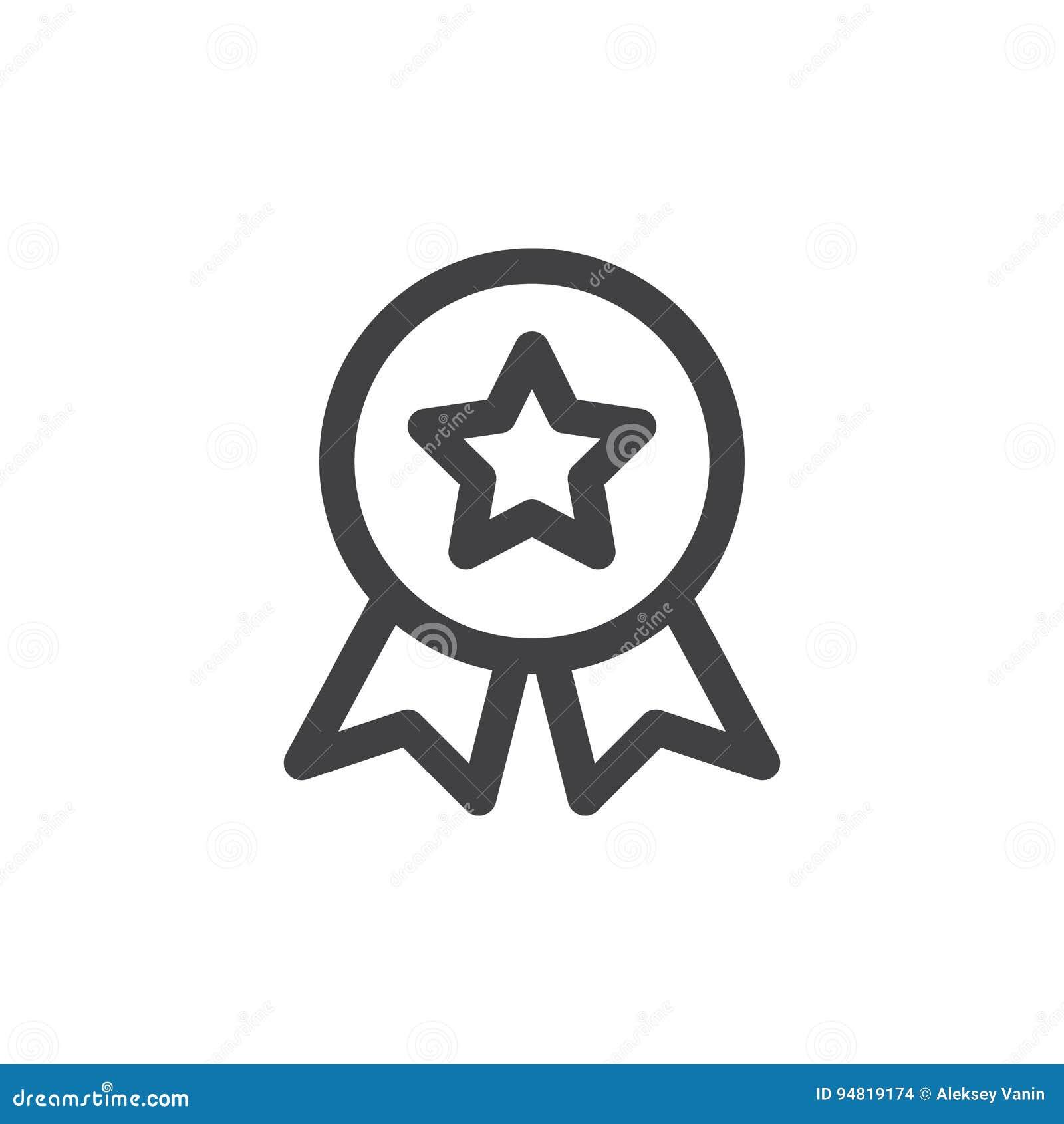 Línea icono, muestra del vector del esquema, pictograma linear de la medalla de la calidad del estilo aislado en blanco
