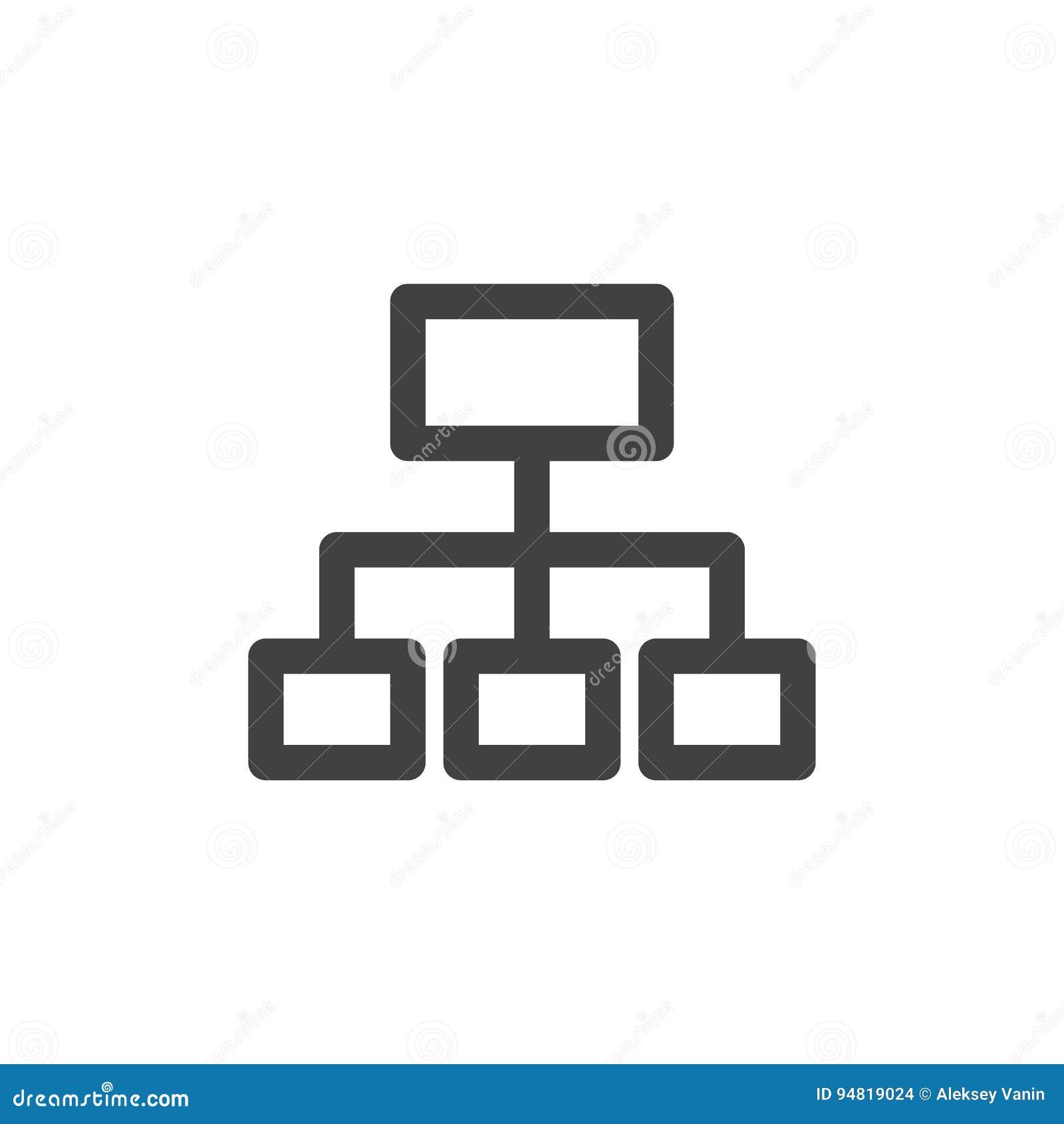 Línea icono, muestra del vector del esquema, pictograma linear de Sitemap del estilo aislado en blanco