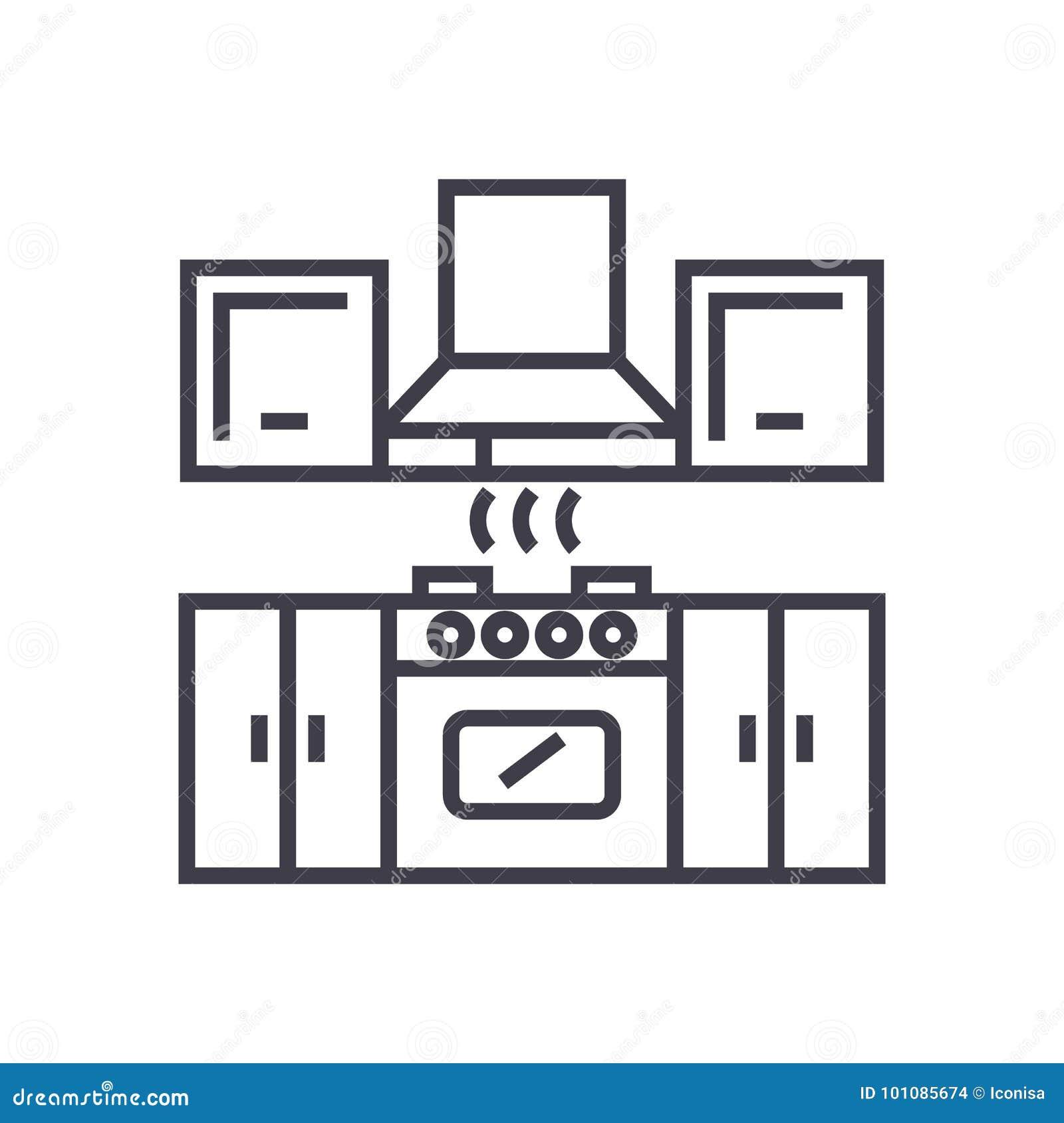 Línea Icono, Muestra, Ejemplo Del Vector De Los Muebles De La Cocina ...