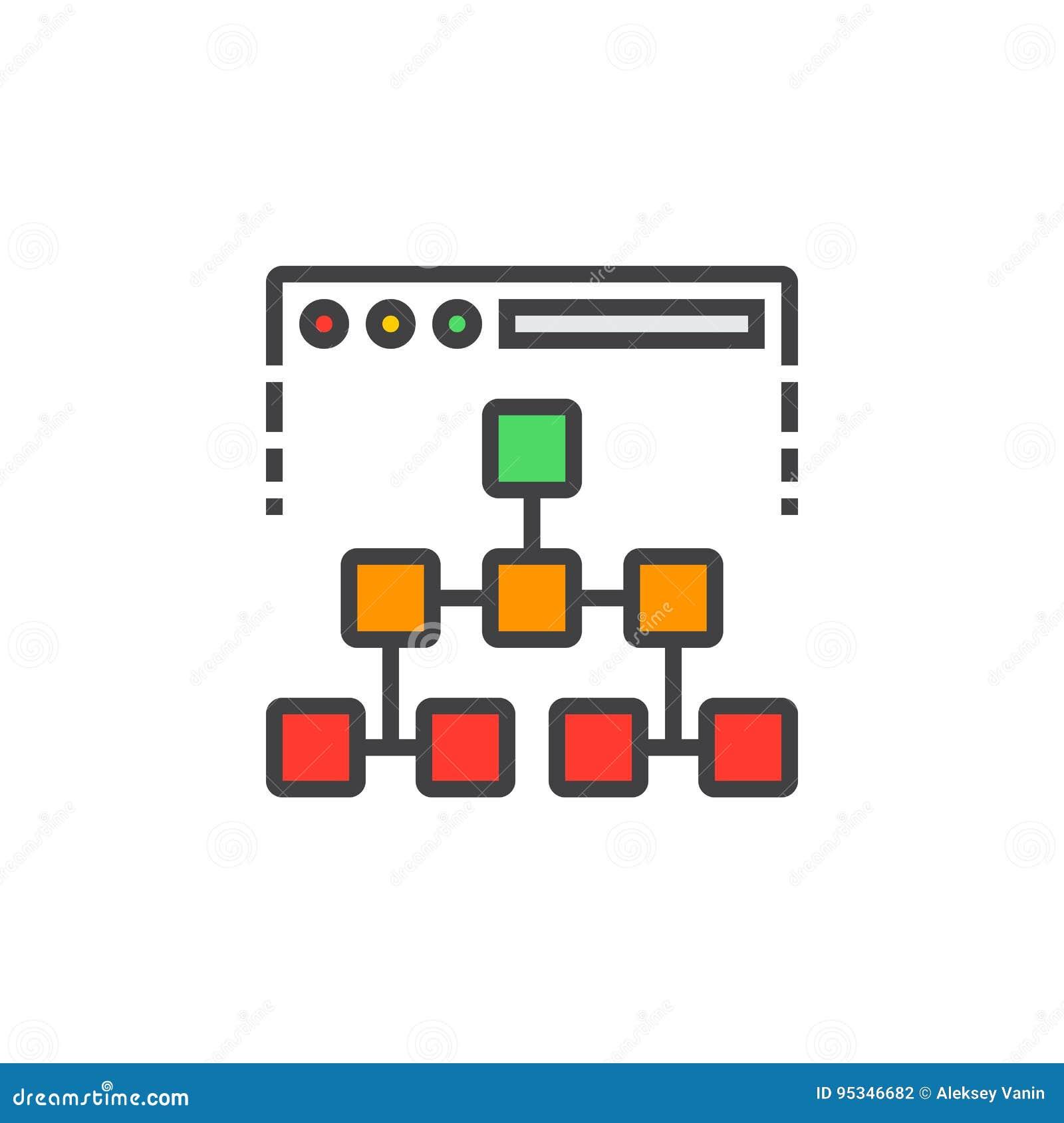 Línea icono, muestra llenada del vector del esquema, colorido linear del mapa de sitio