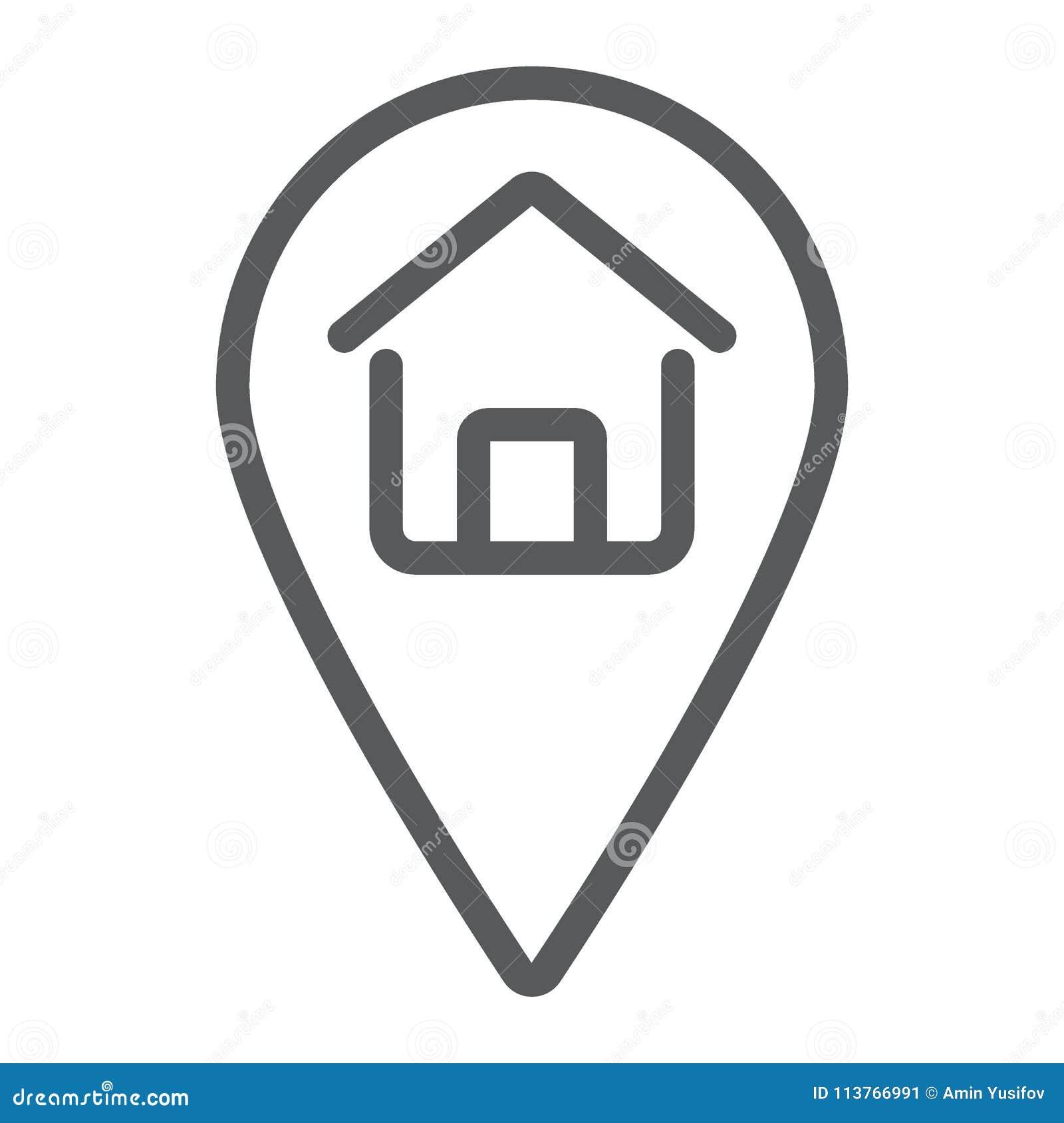 Línea icono, propiedades inmobiliarias y hogar de la ubicación casera