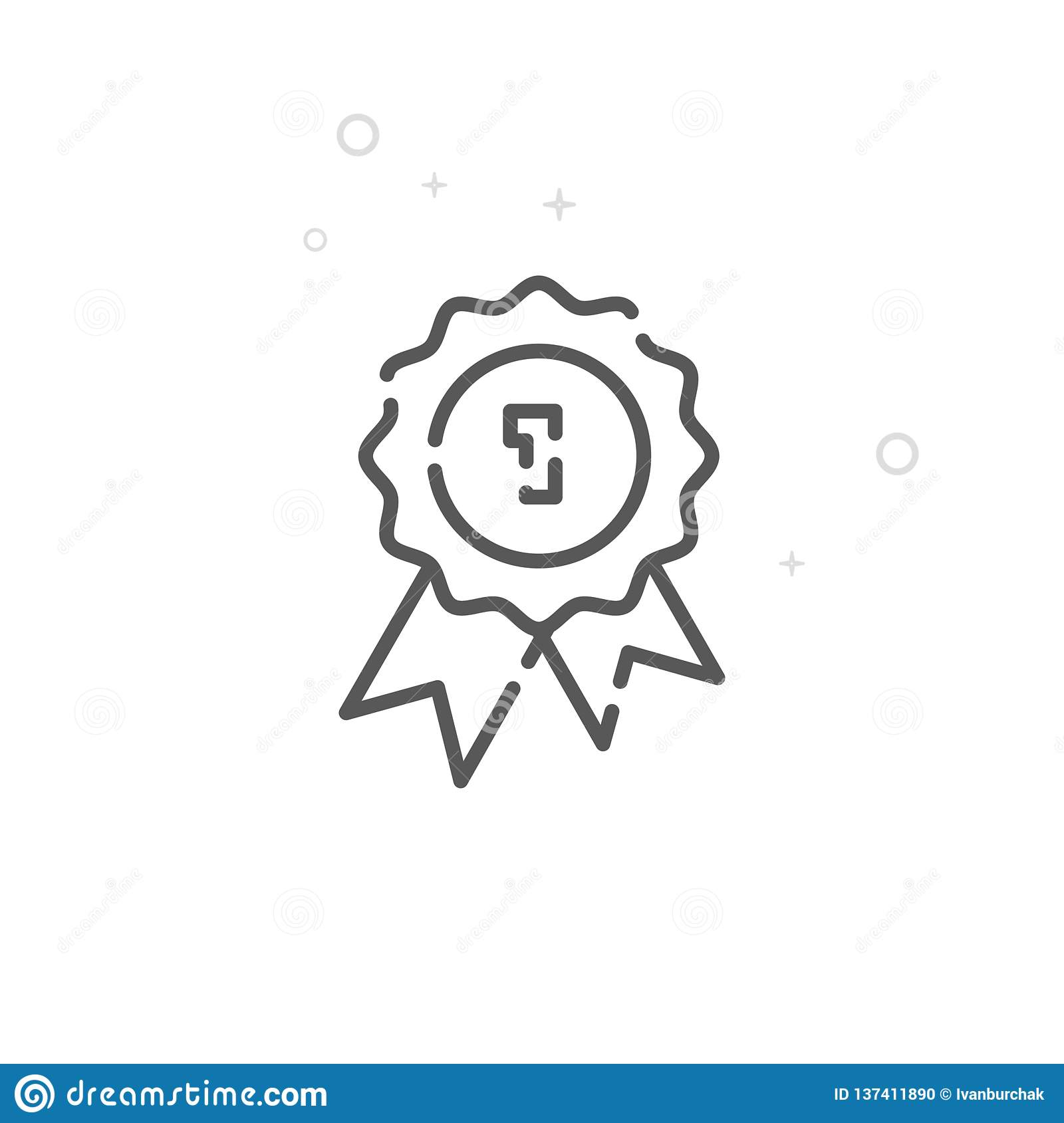 Línea icono, símbolo, pictograma, muestra del vector del sello de calidad Fondo geométrico abstracto ligero Movimiento Editable