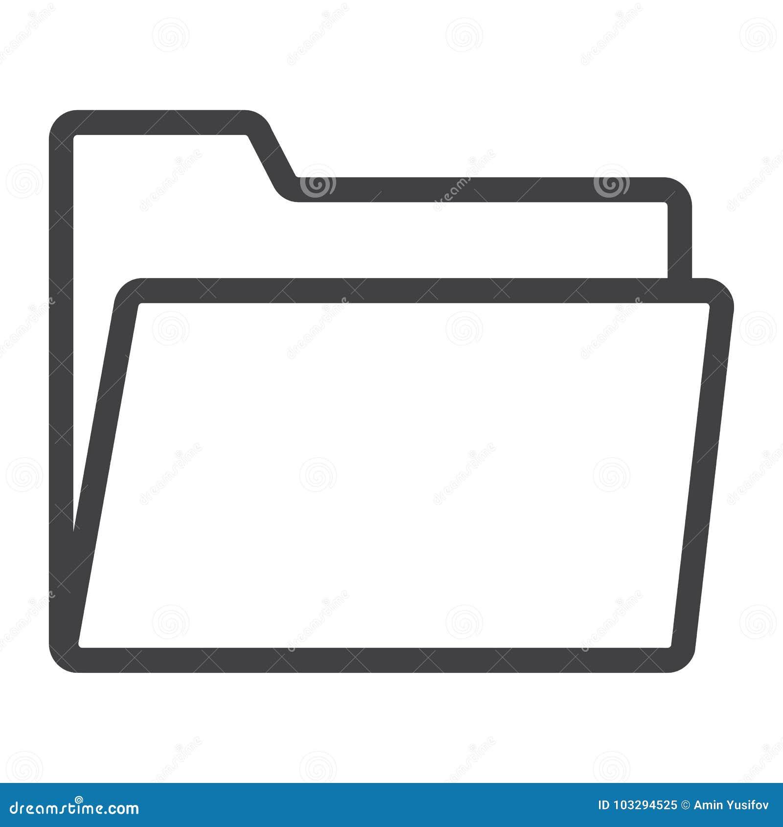 Línea icono, web y móvil de la carpeta, vector de la muestra del fichero