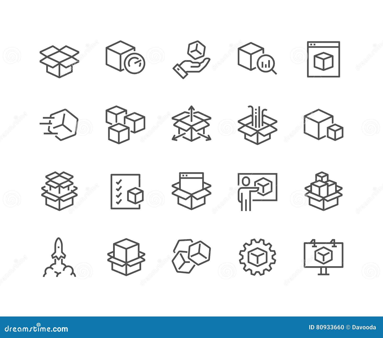 Línea iconos abstractos del producto