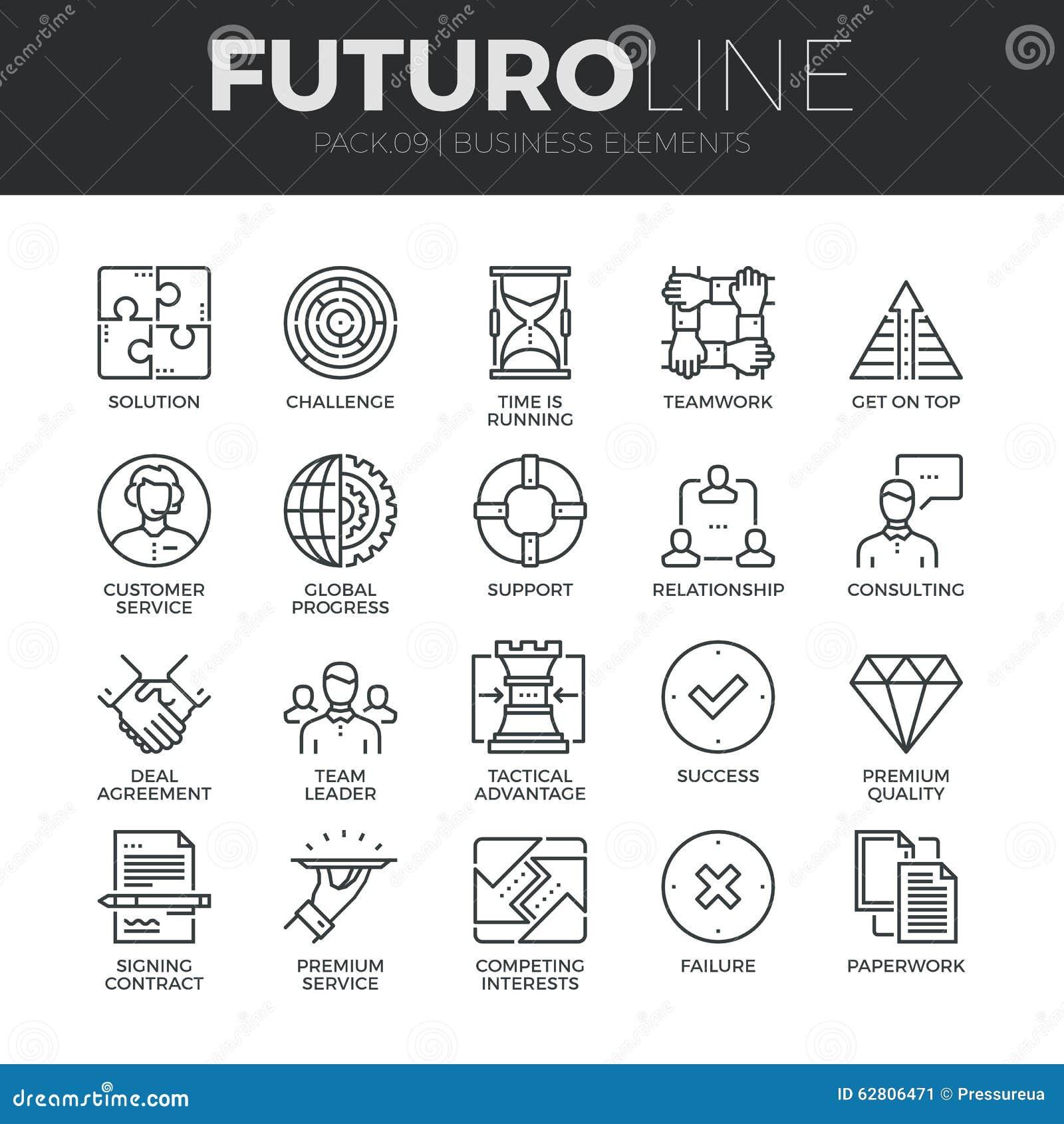 Línea iconos de Futuro de los elementos del negocio fijados