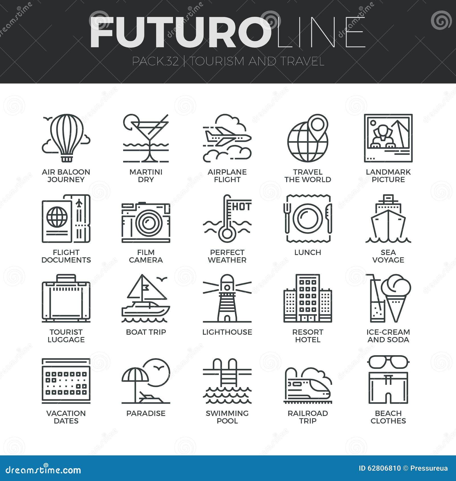 Línea iconos de Futuro del turismo y del viaje fijados