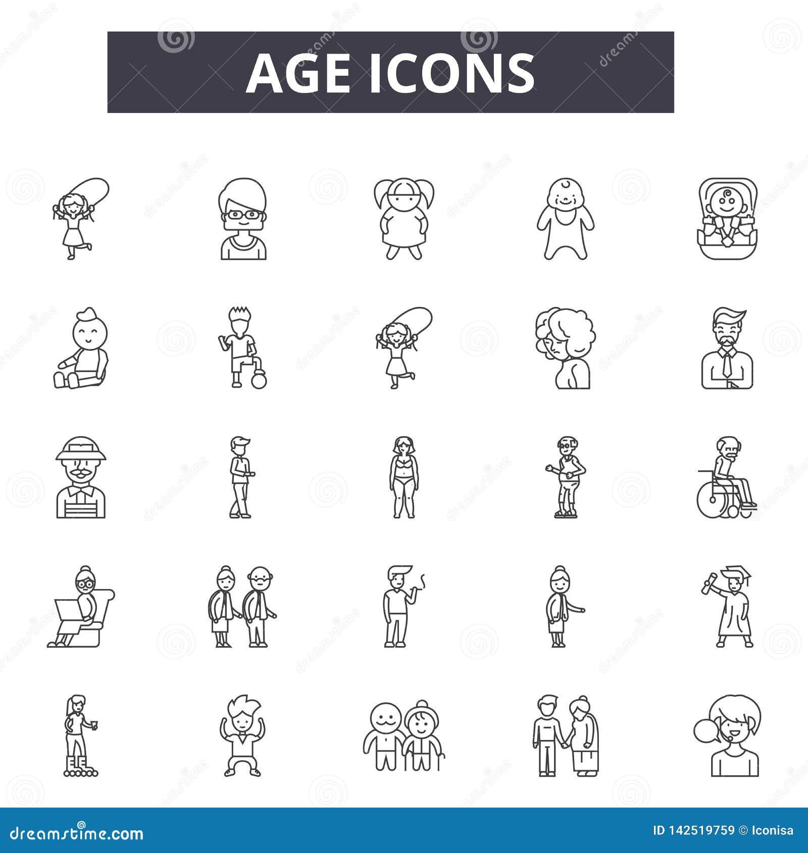 Línea iconos de la edad Muestras Editable del movimiento Iconos del concepto: mujer, hembra, mayor de la persona, maduros, enveje