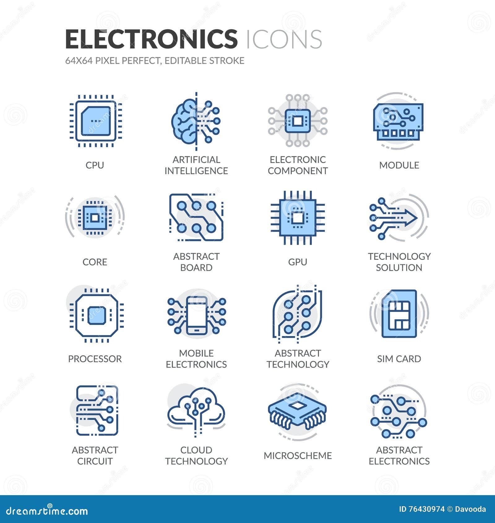 Línea iconos de la electrónica