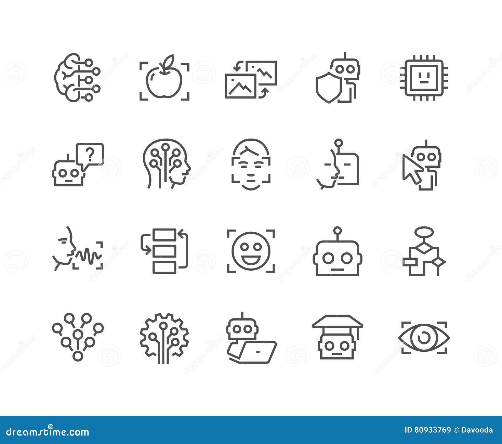 Línea iconos de la inteligencia artificial