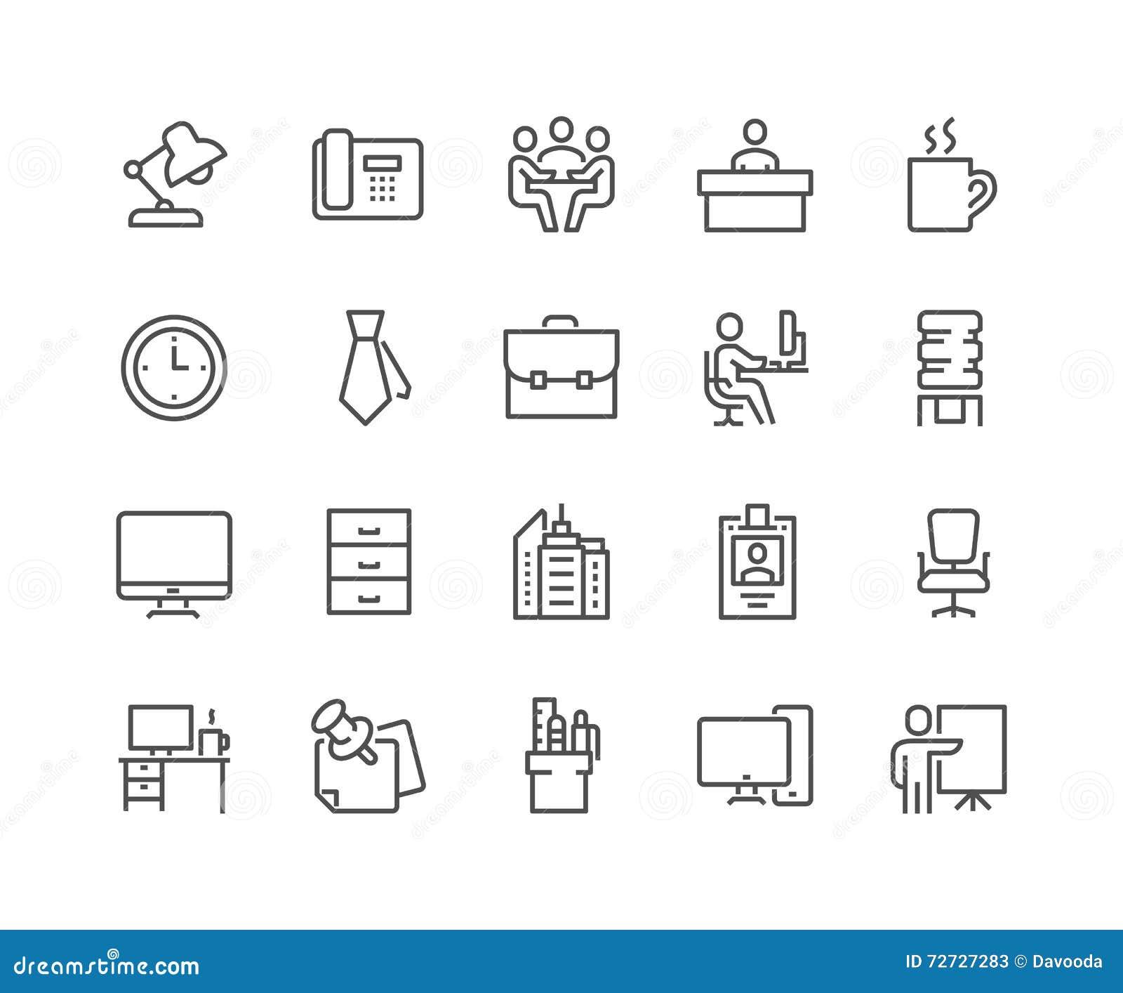 Línea iconos de la oficina