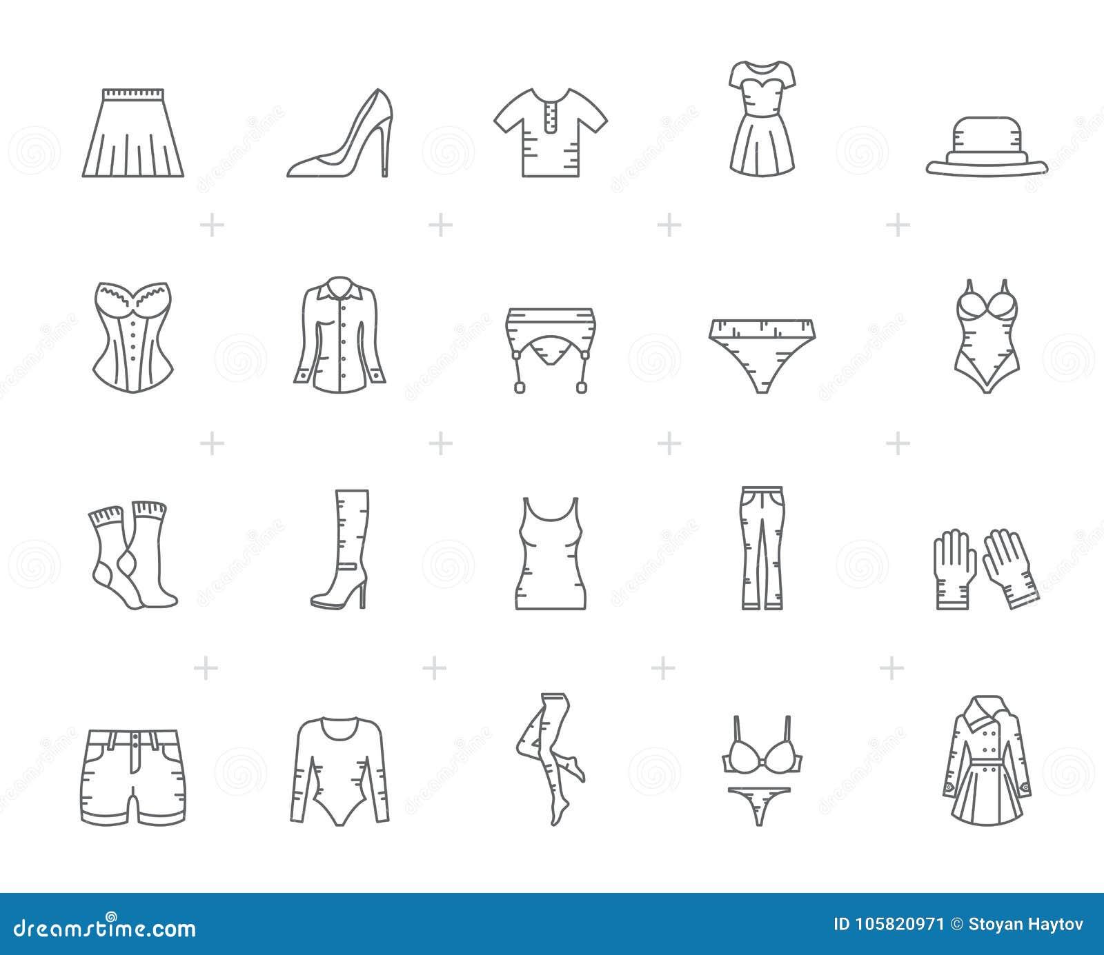 Línea iconos de la ropa de la mujer