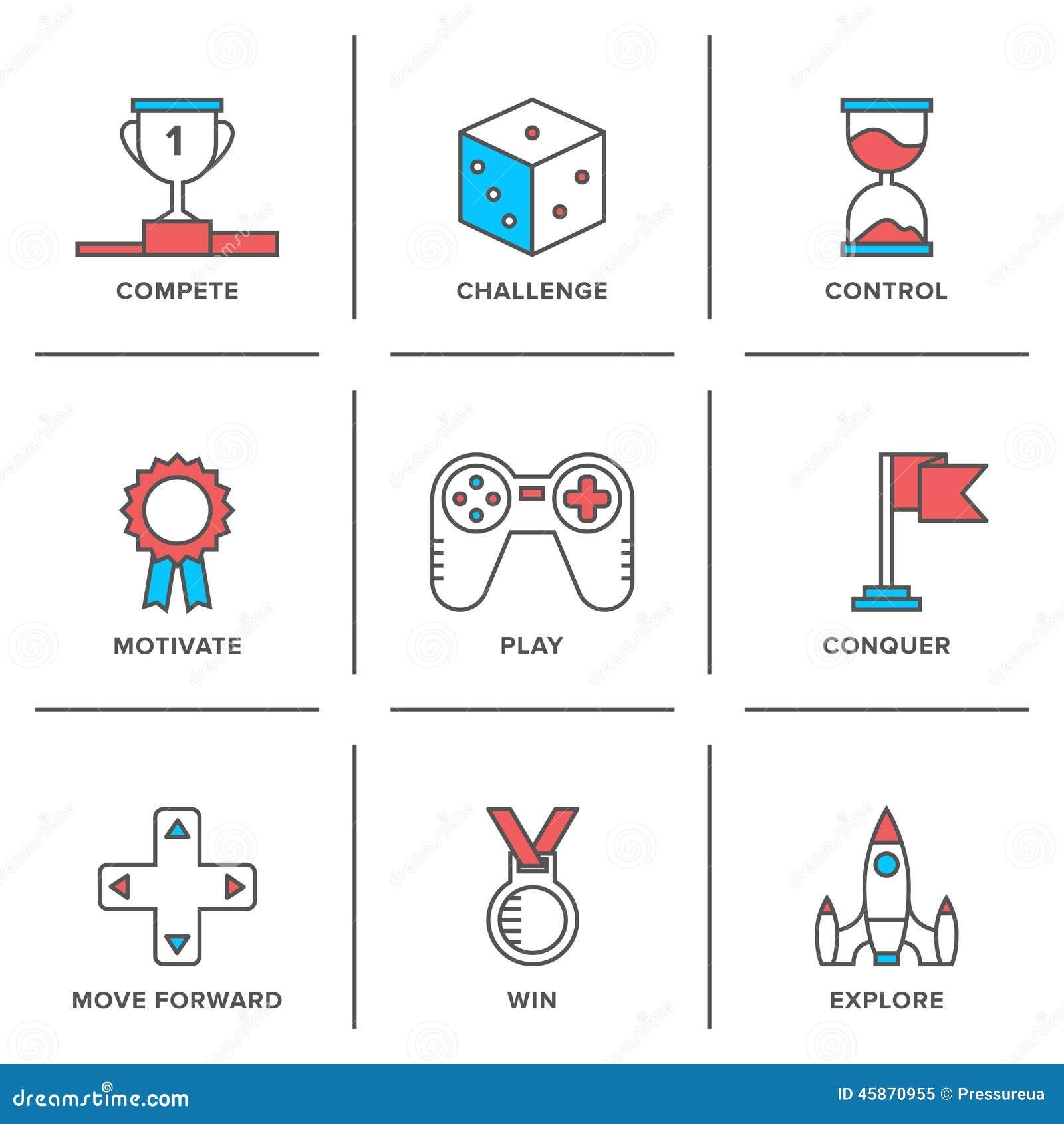 Línea iconos de la ventaja competitiva fijados