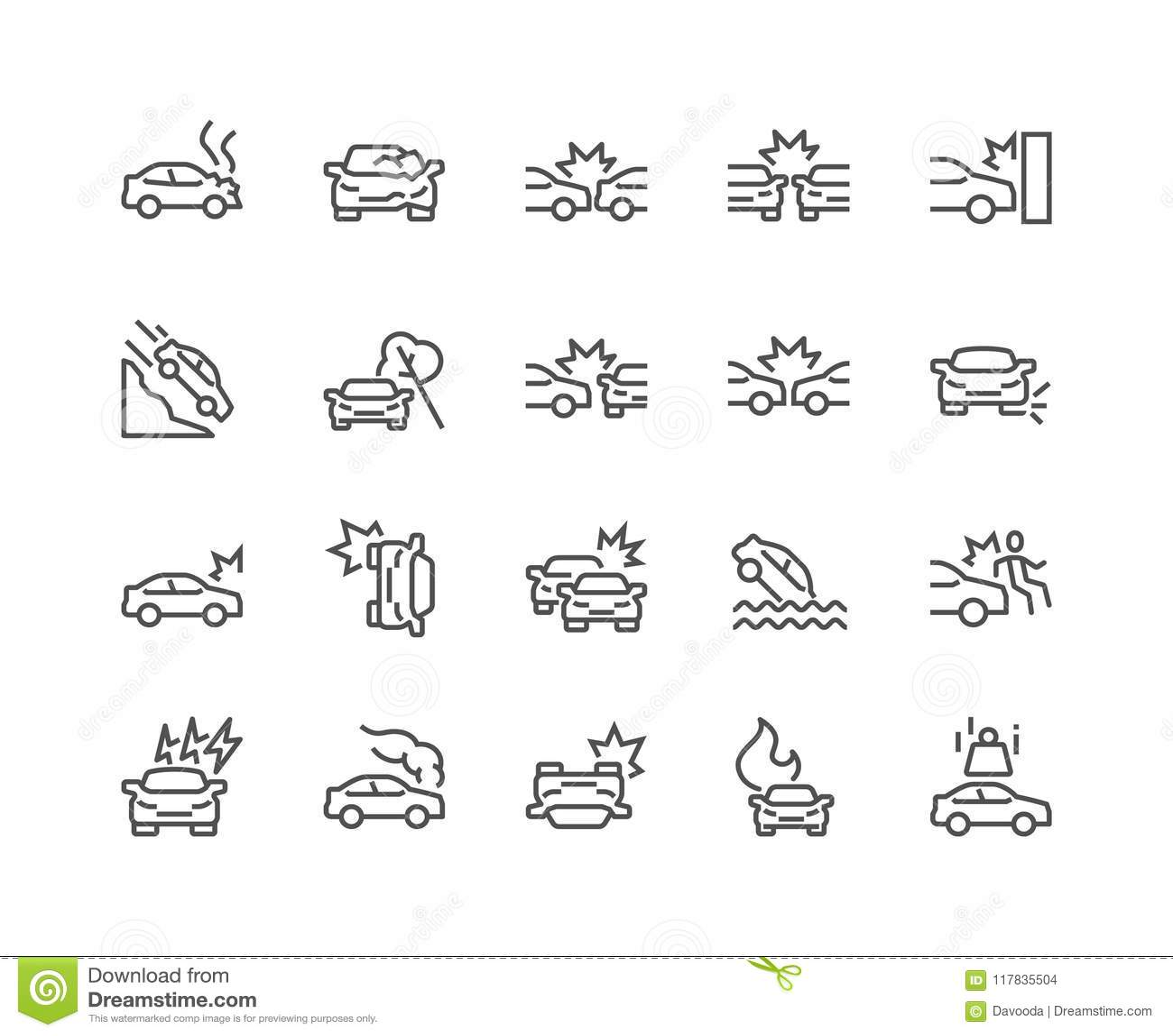 Línea iconos del accidente de tráfico