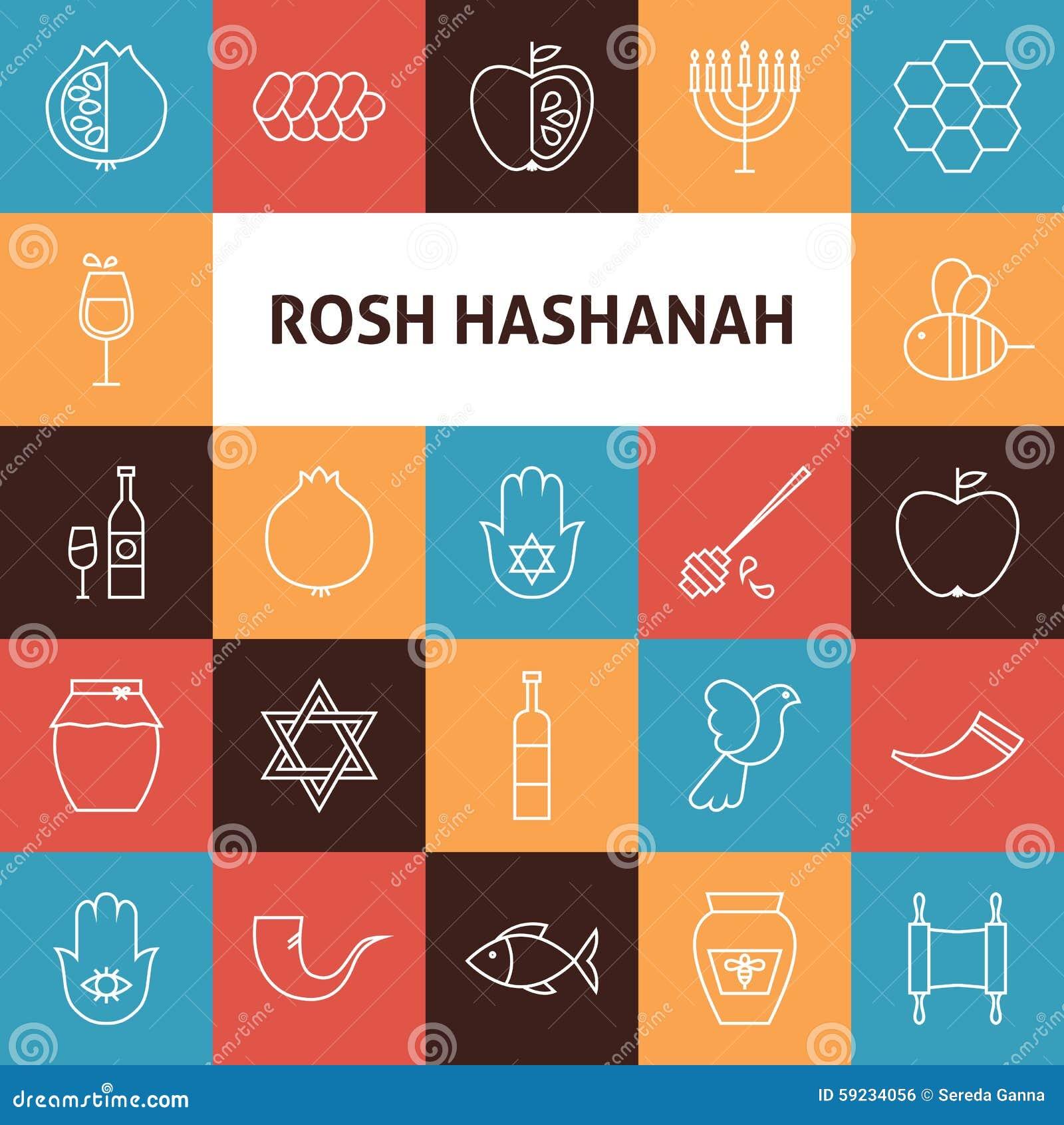 Download Línea Iconos Del Día De Fiesta Del Año De Art Rosh Hashanah Jewish New Fijados Ilustración del Vector - Ilustración de manzana, celebración: 59234056