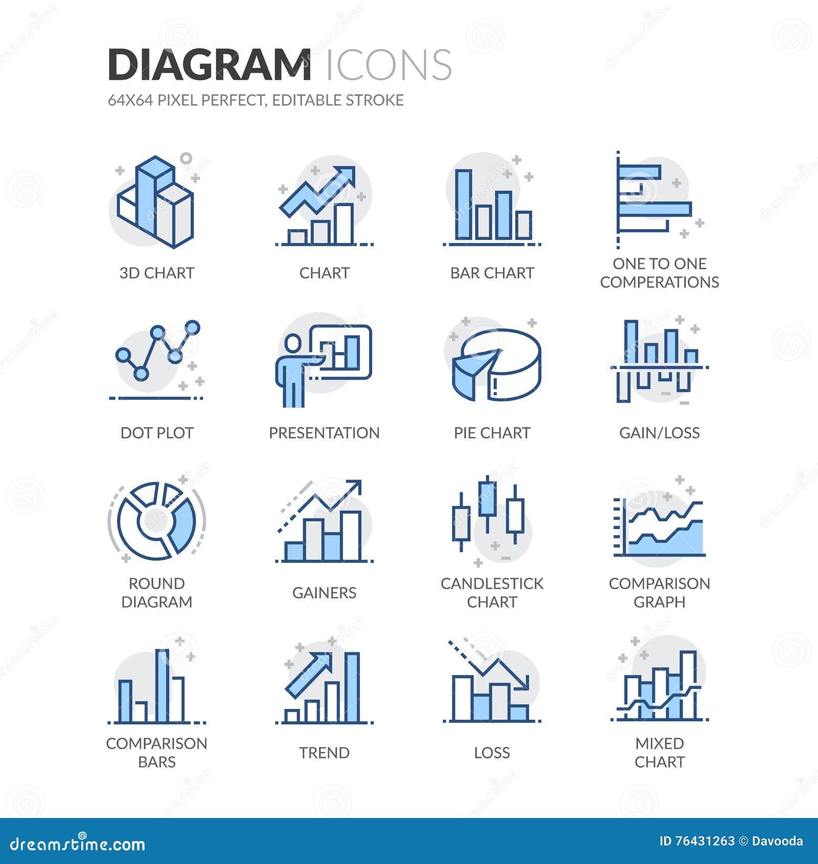 Línea iconos del diagrama
