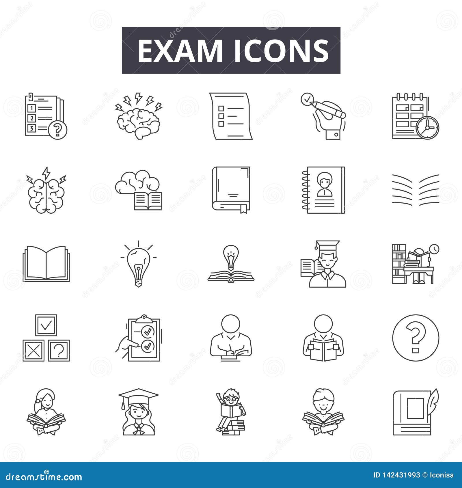 Línea iconos del examen para la web y el diseño móvil Muestras Editable del movimiento Ejemplos del concepto del esquema del exam