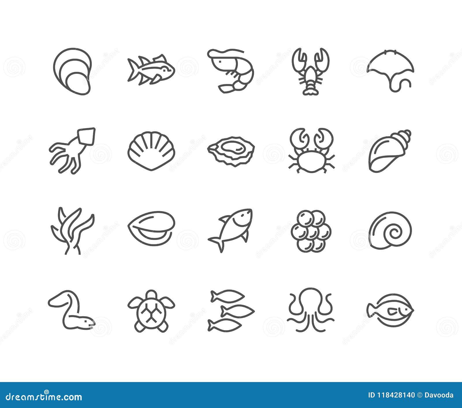 Línea iconos del marisco