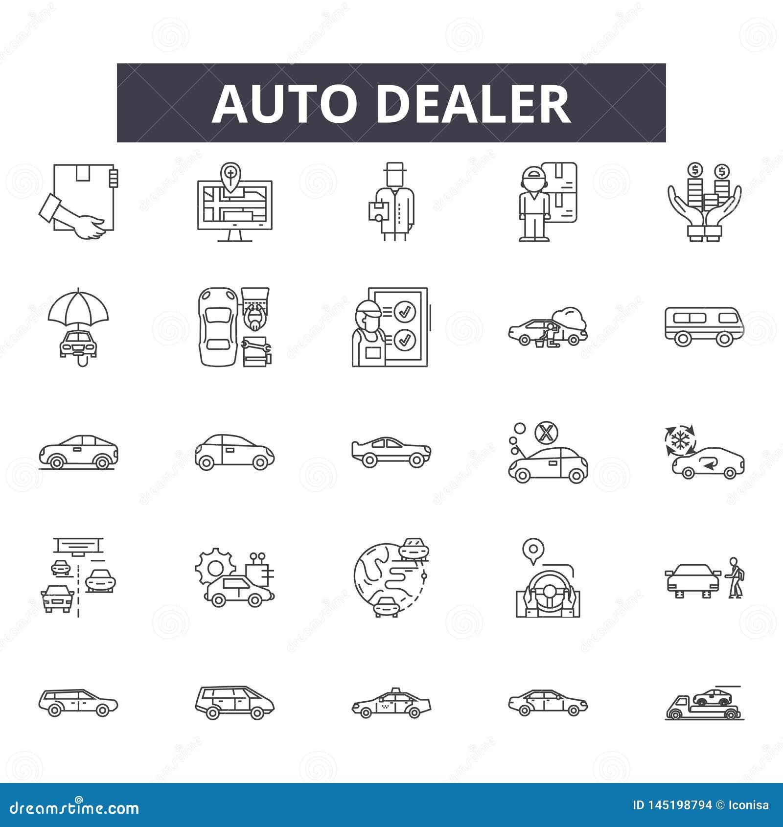 Línea iconos, muestras, sistema del vector, concepto del concesionario de automóviles del ejemplo del esquema