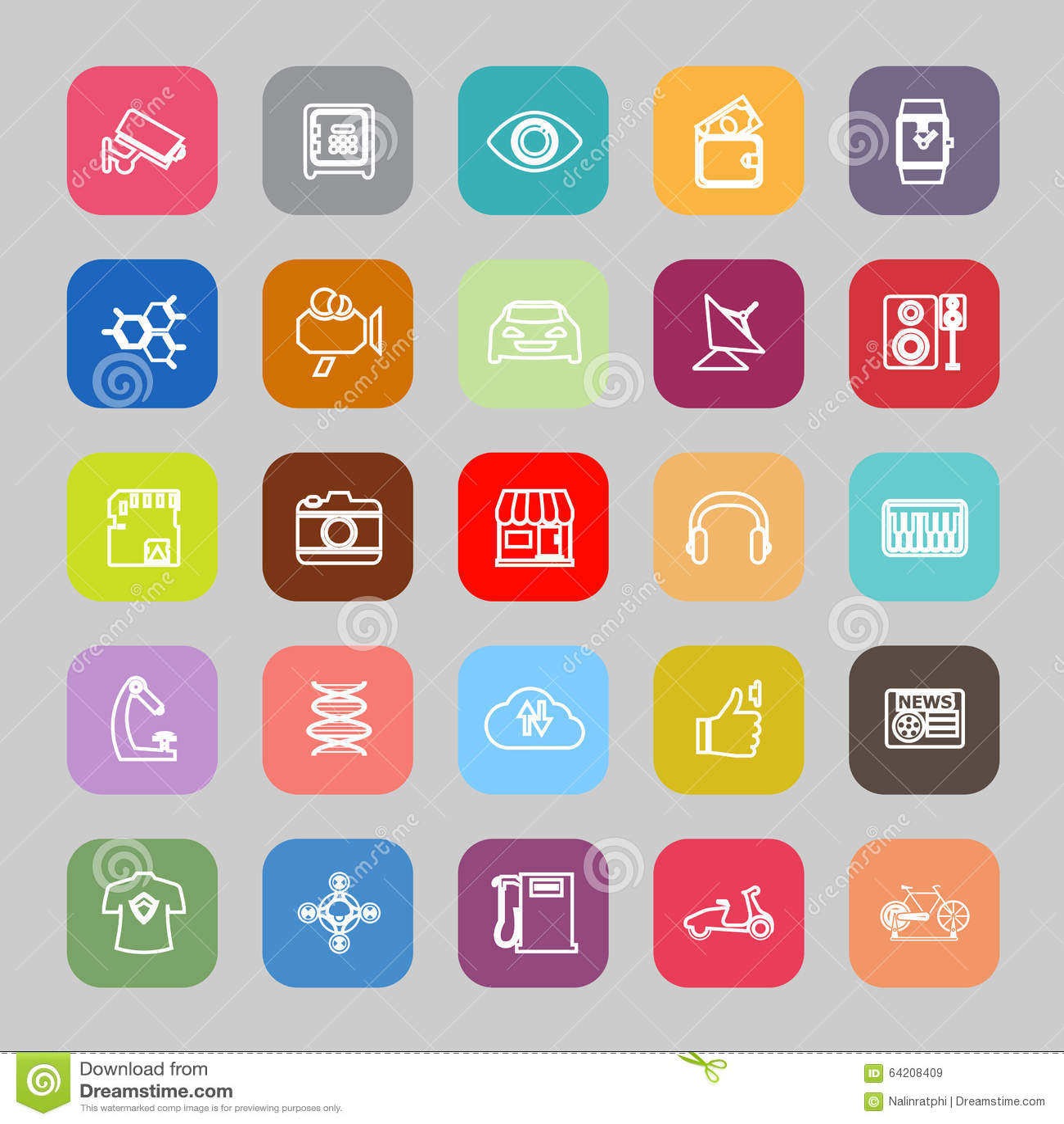 Línea iconos planos de Hitechnology