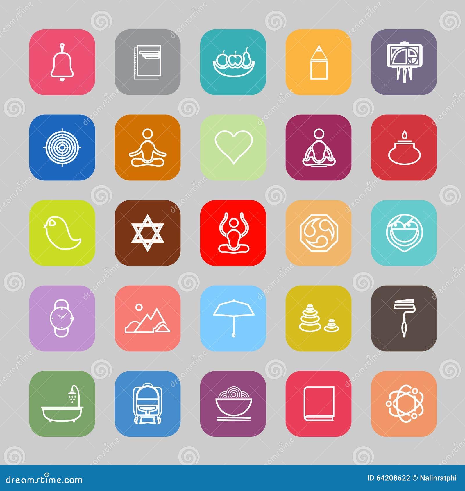 Línea iconos planos de la sociedad del zen