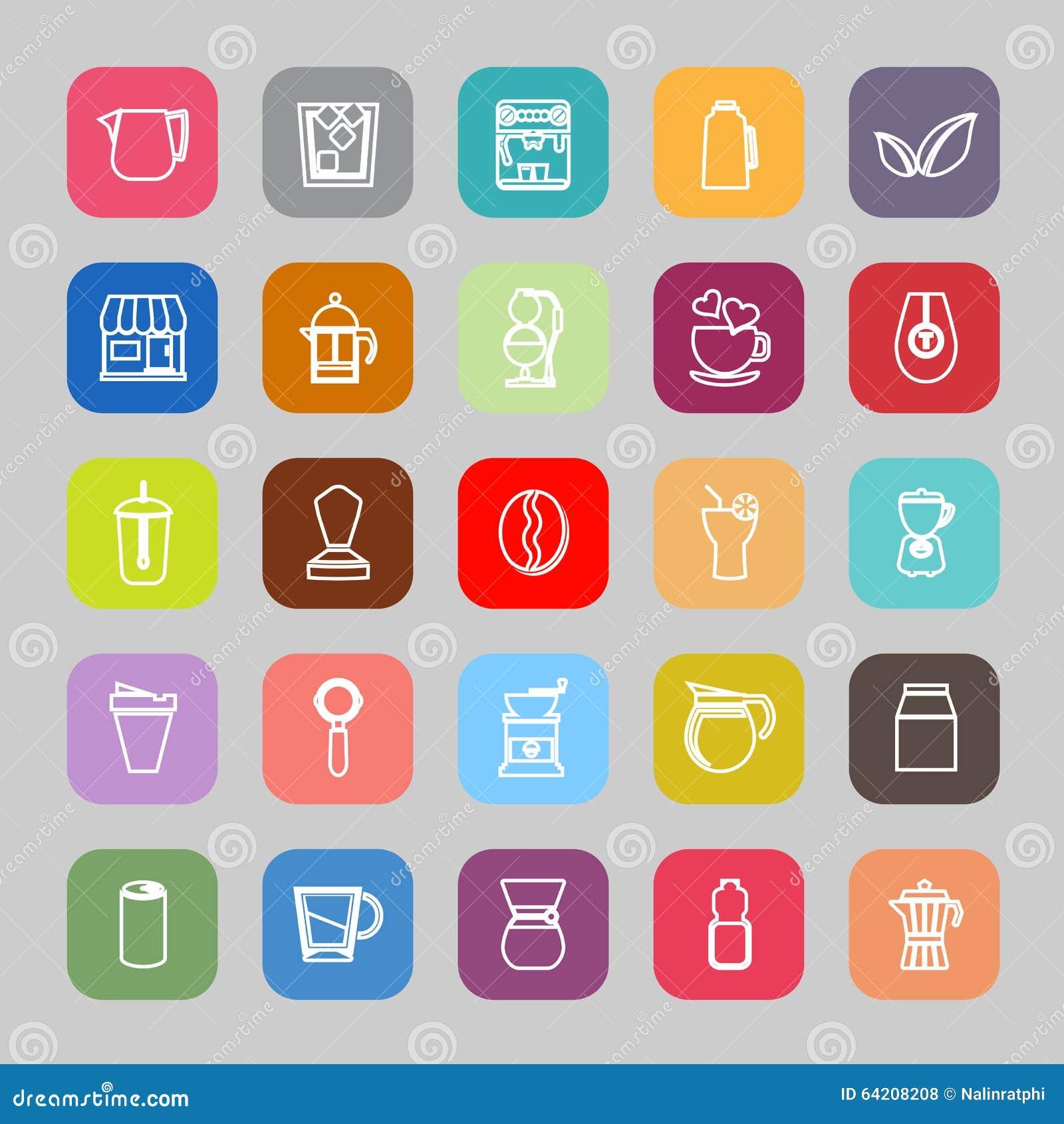 Línea iconos planos del café y del té