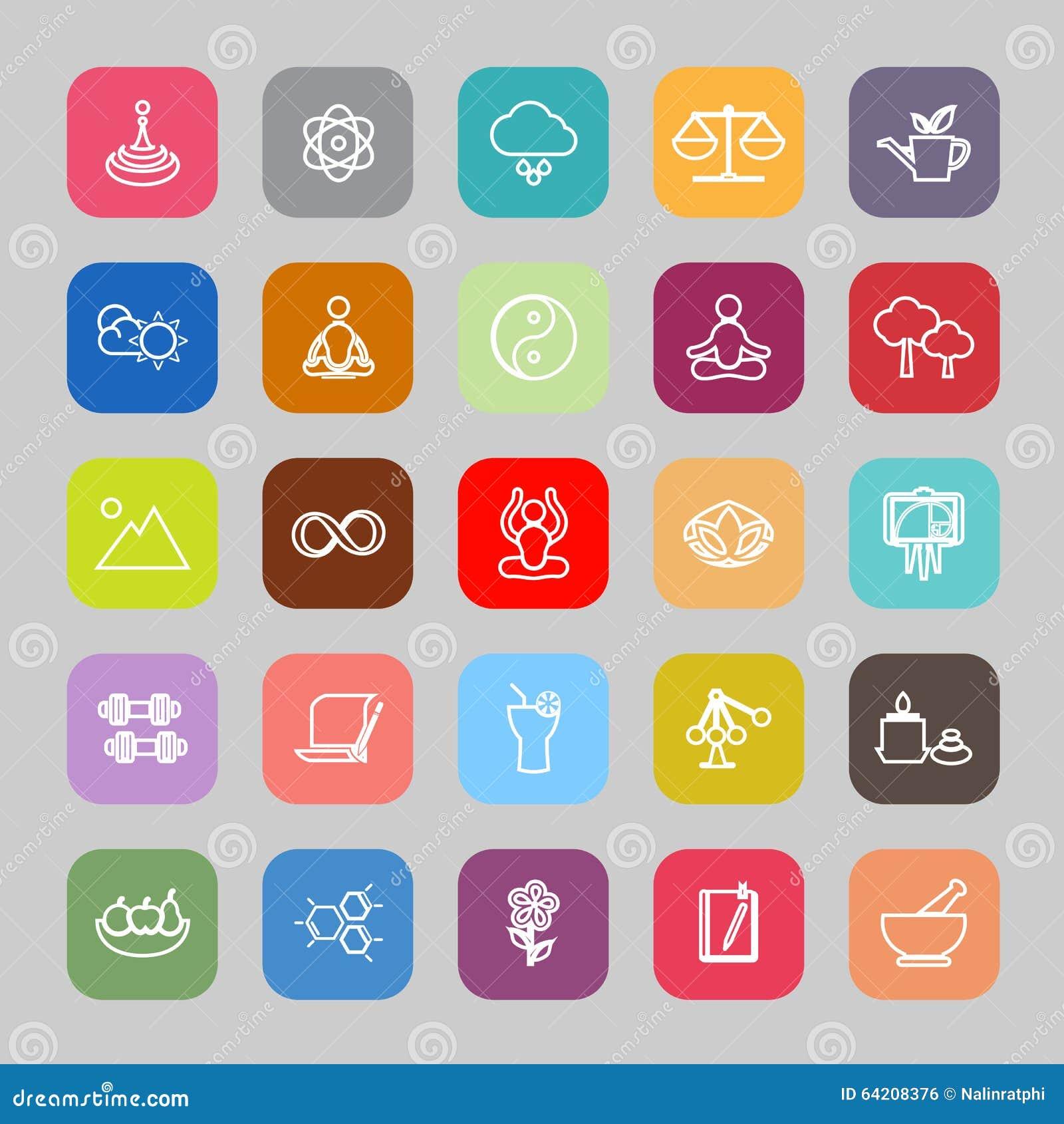 Línea iconos planos del concepto del zen