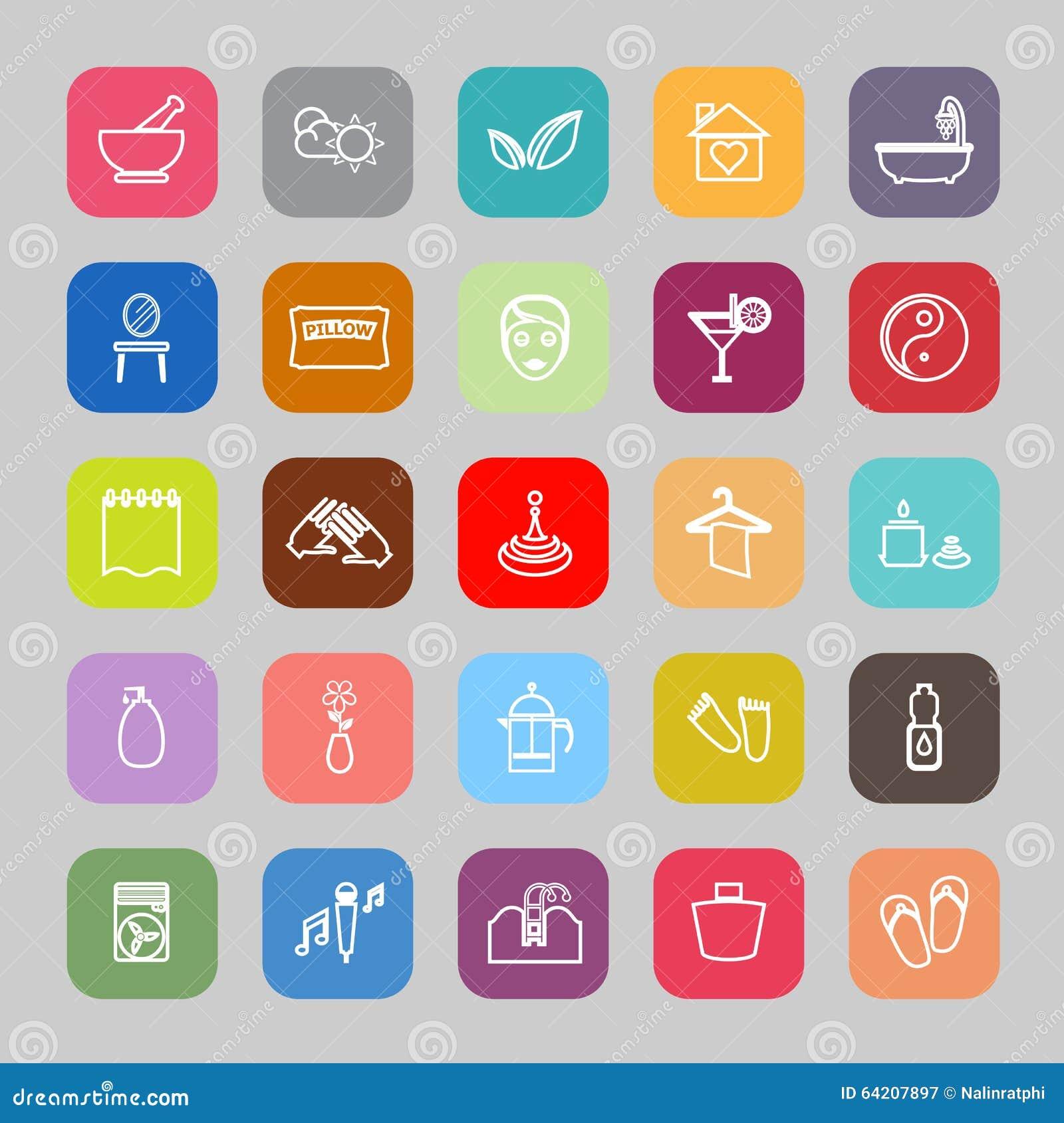 Línea iconos planos del masaje