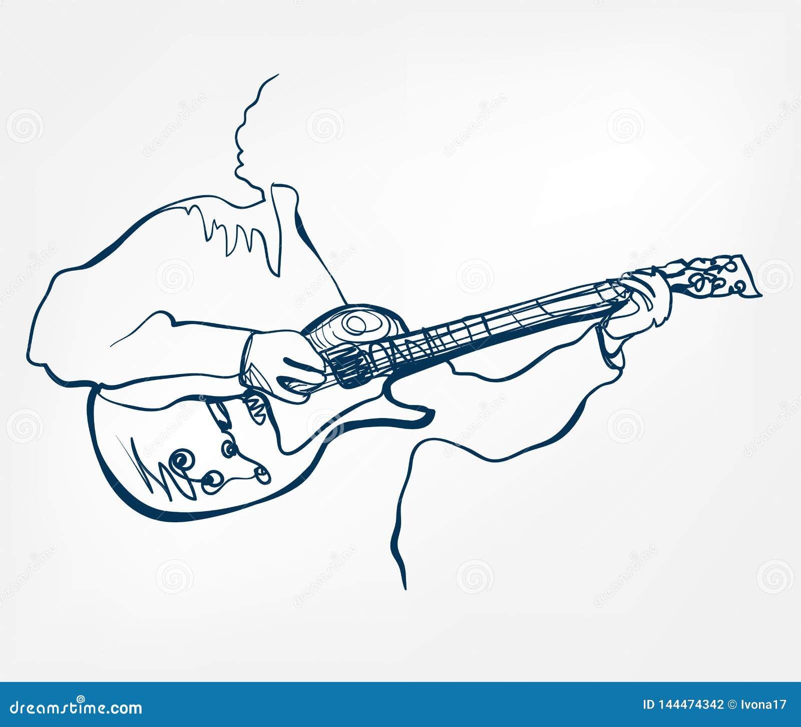Línea instrumento del bosquejo de la guitarra de las manos de música del diseño del vector