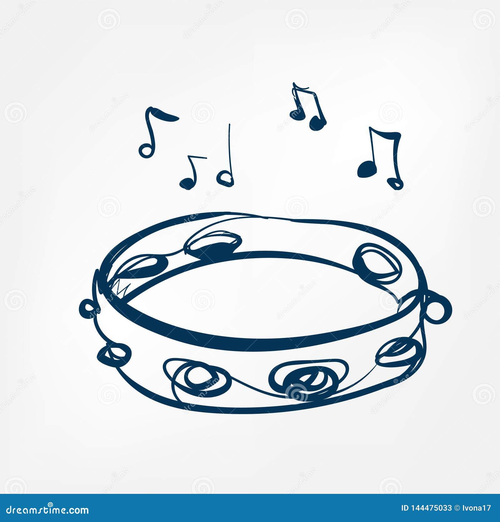 Línea instrumento del bosquejo de la pandereta de música del diseño