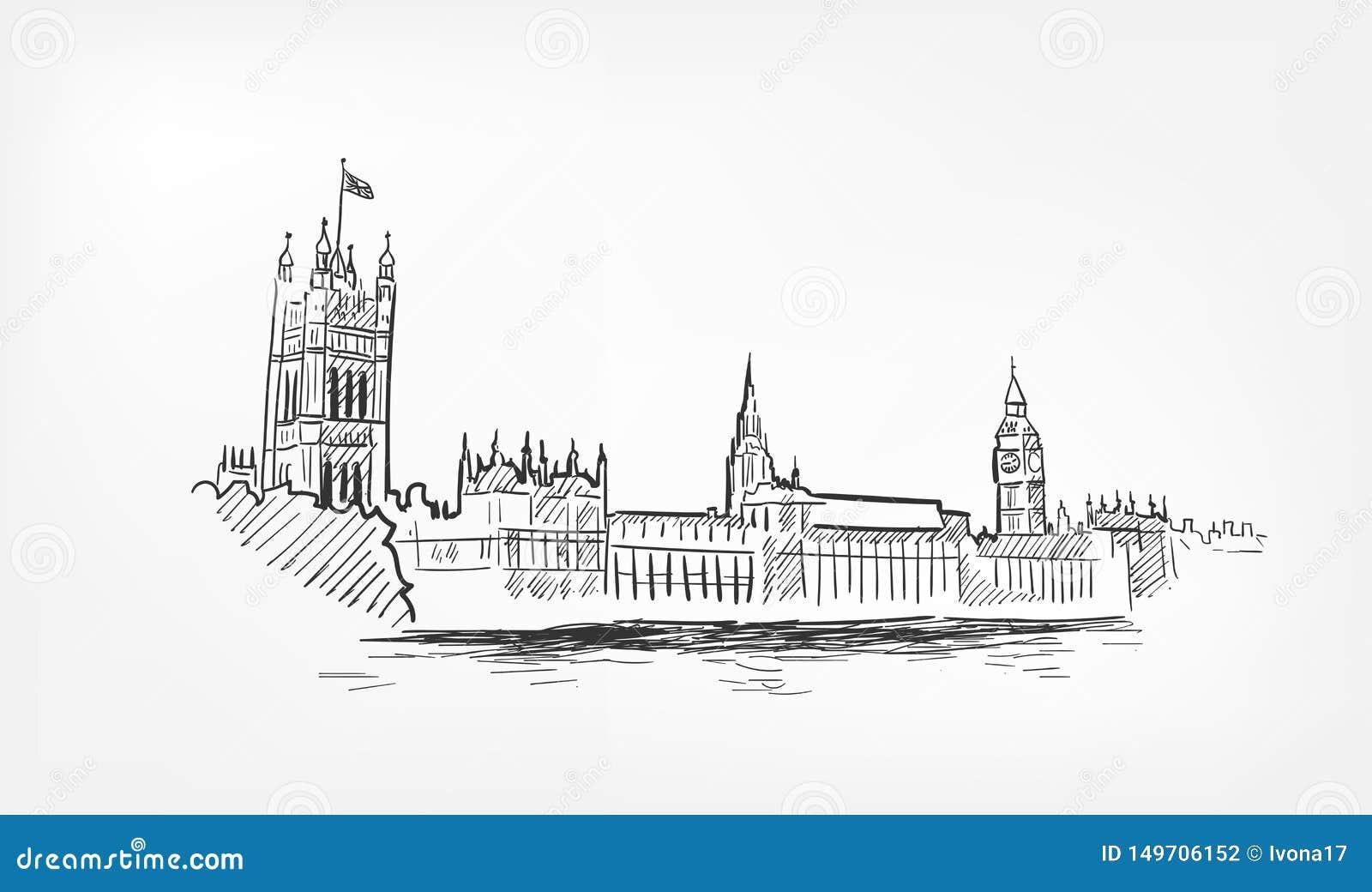 Línea minochrome de Londres del ejemplo del vector del bosquejo aislado
