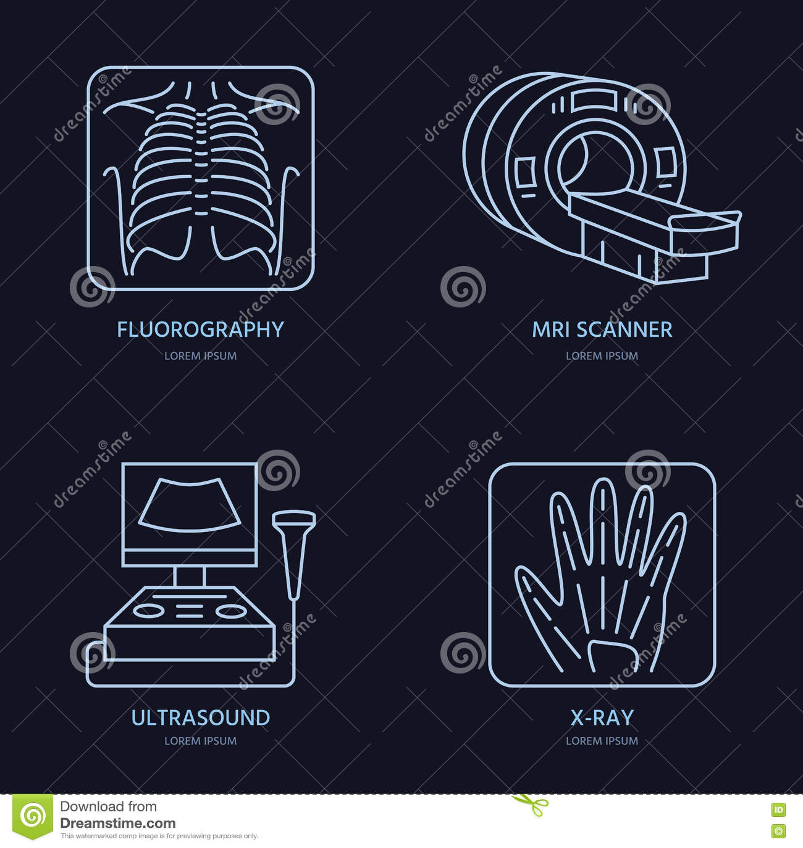 Línea moderna icono del vector de la radiografía, MRI, ultrasonido Investigación médica, logotipo linear de la clínica Símbolo de