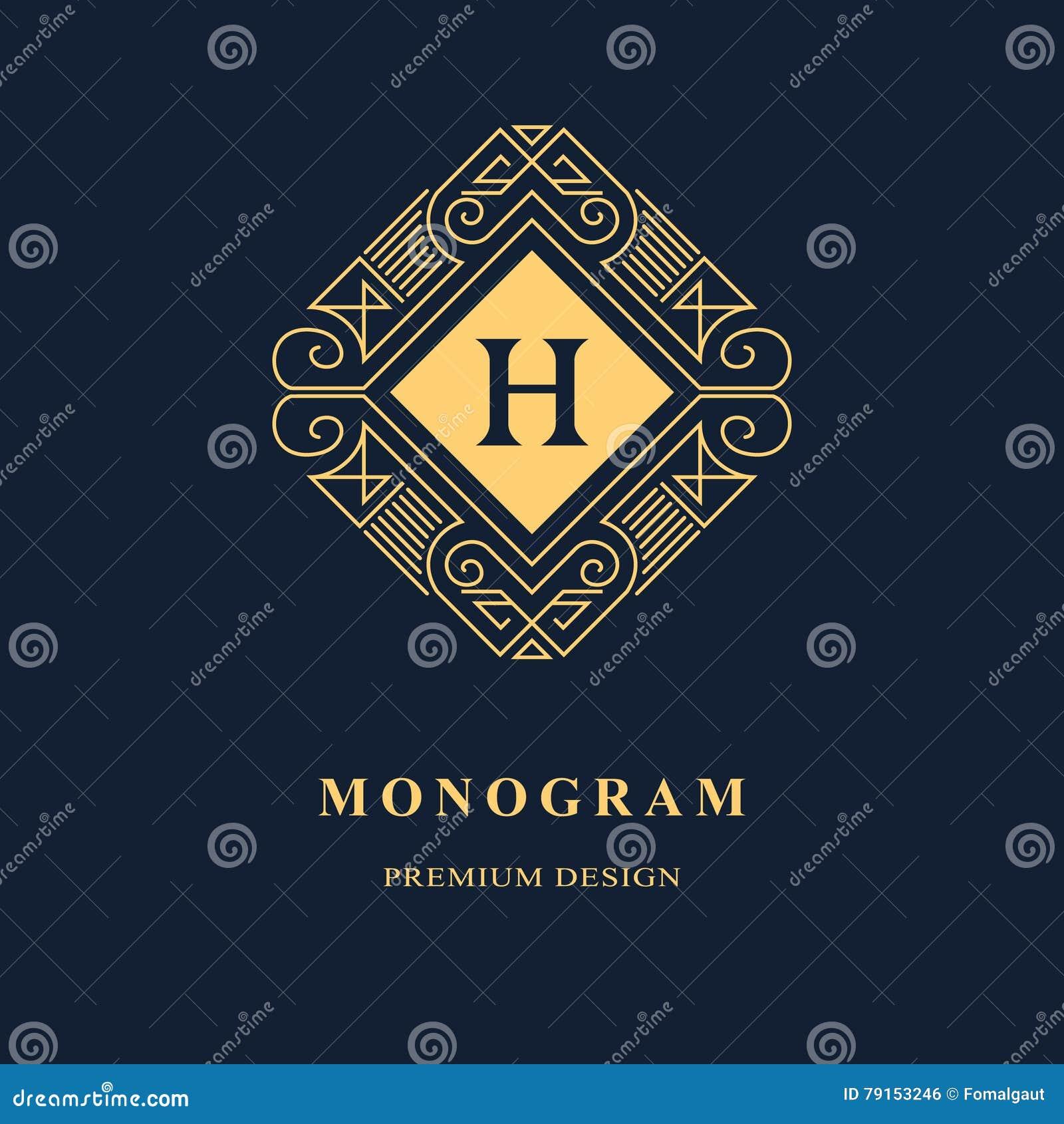 Línea monograma de los gráficos Diseño del logotipo del arte elegante emblema Plantilla agraciada