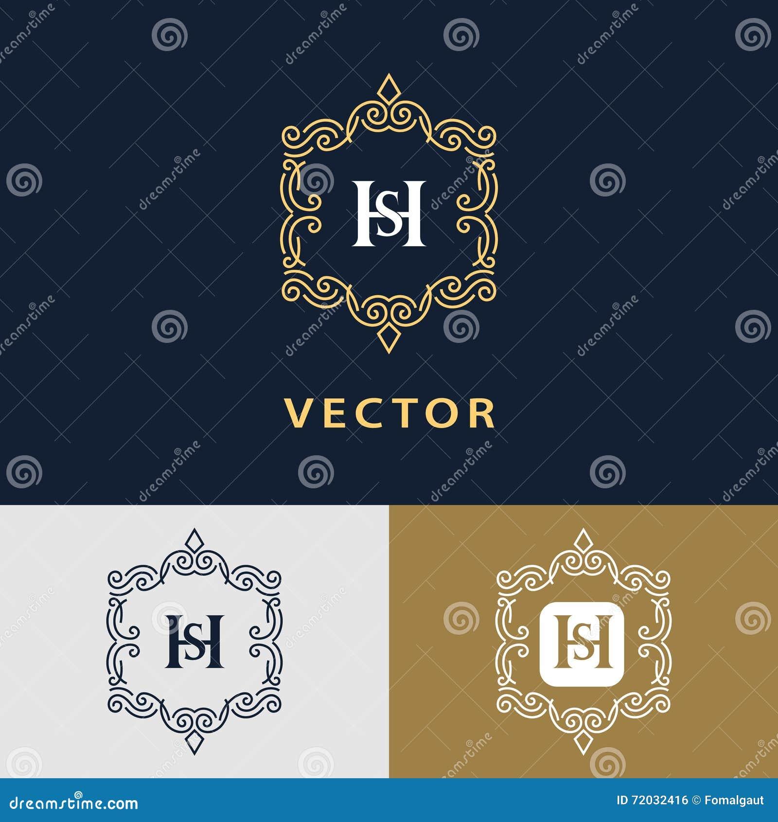 Línea monograma de los gráficos Diseño del logotipo del arte elegante Letra SH Plantilla agraciada