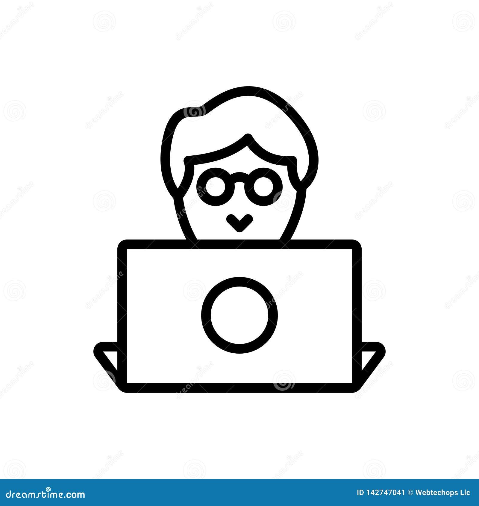 Línea negra icono para el diseñador, el programador y el usuario