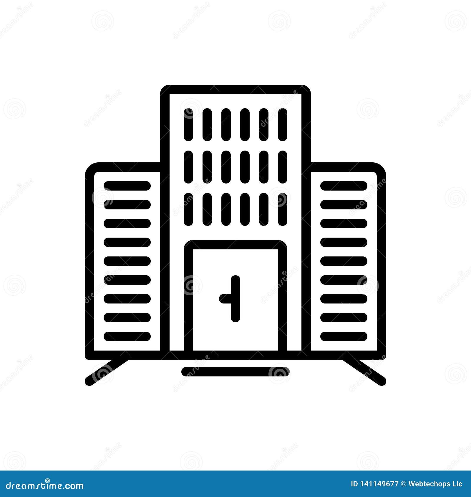 Línea negra icono para el edificio de oficinas, corporativo y el negocio