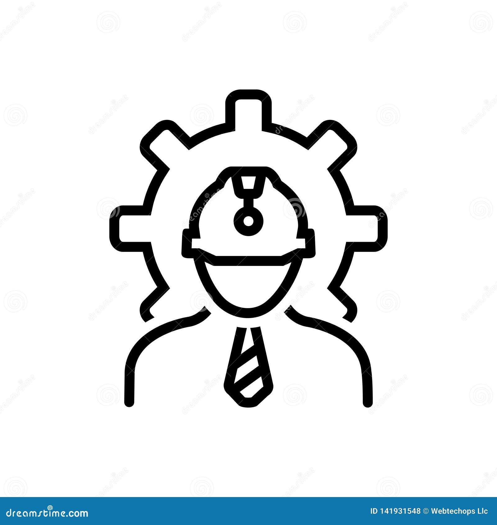 Línea negra icono para el ingeniero, la arquitectura y el contratista