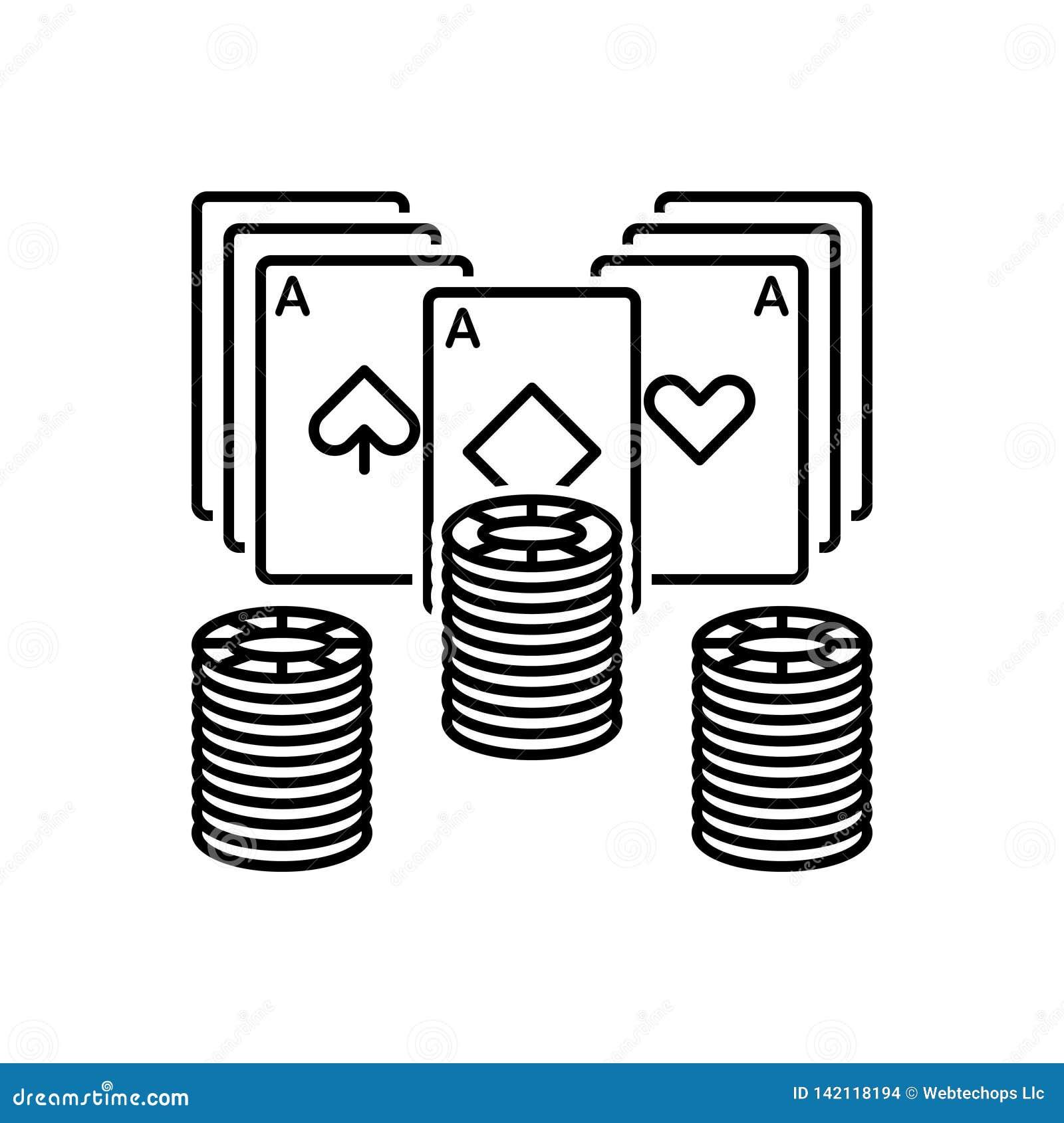 Línea negra icono para el póker, el microprocesador y el juego
