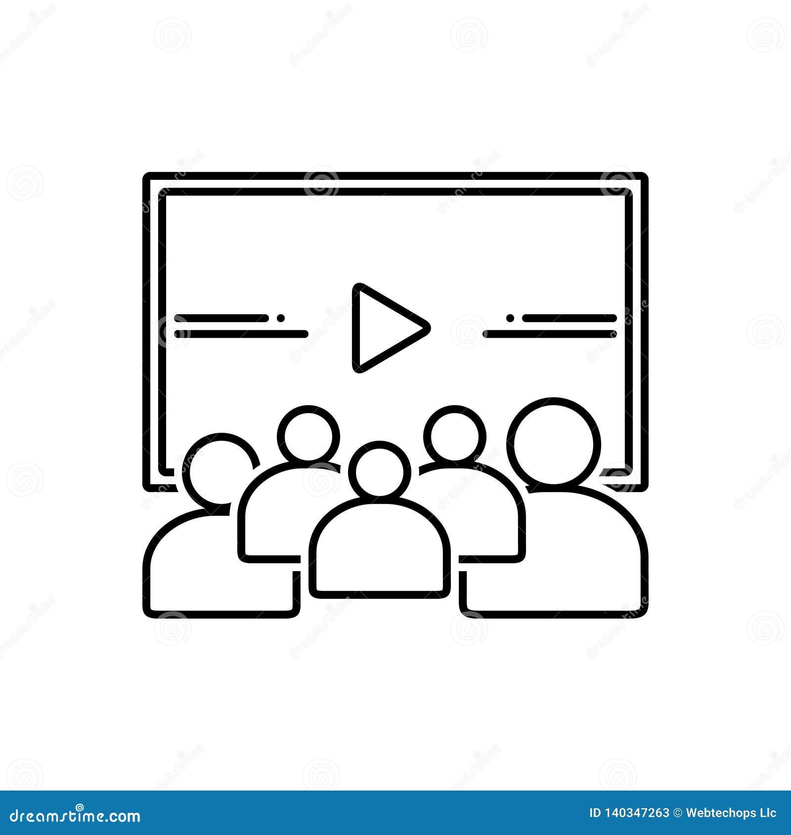 Línea negra icono para el vídeo, la audiencia y la investigación