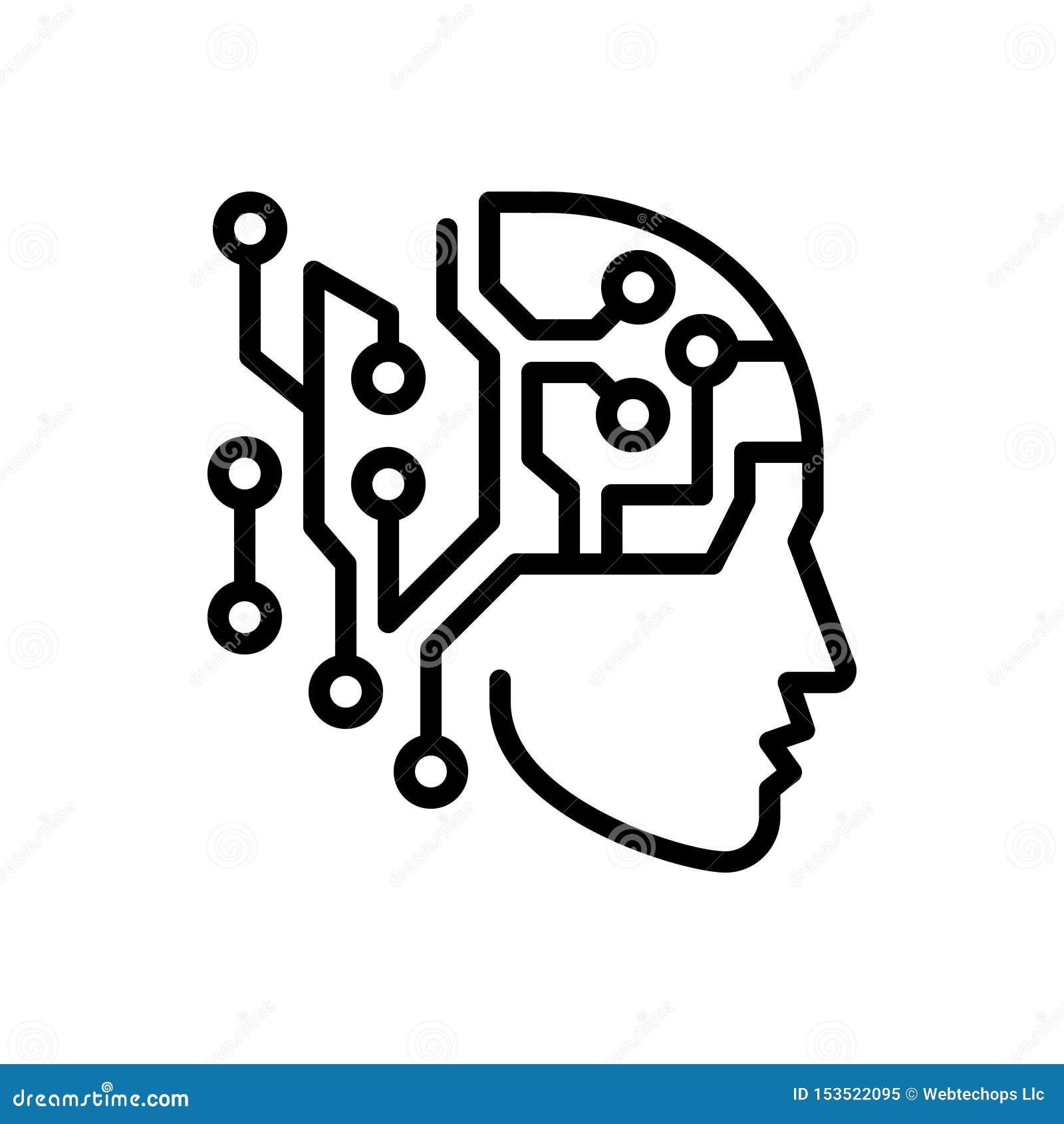 Línea negra icono para la inteligencia artificial, artificial y el microprocesador