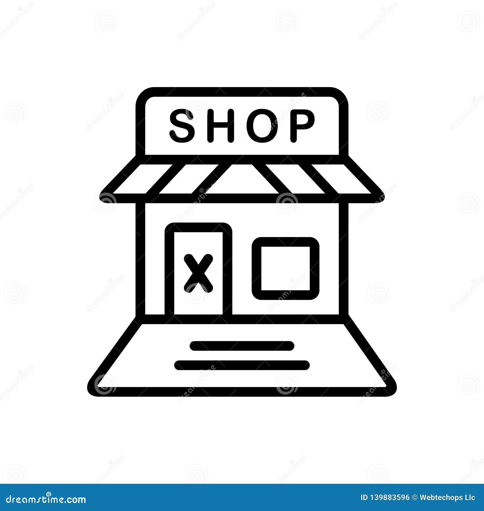 Línea negra icono para la tienda cerrada, la venta al por menor y la tienda