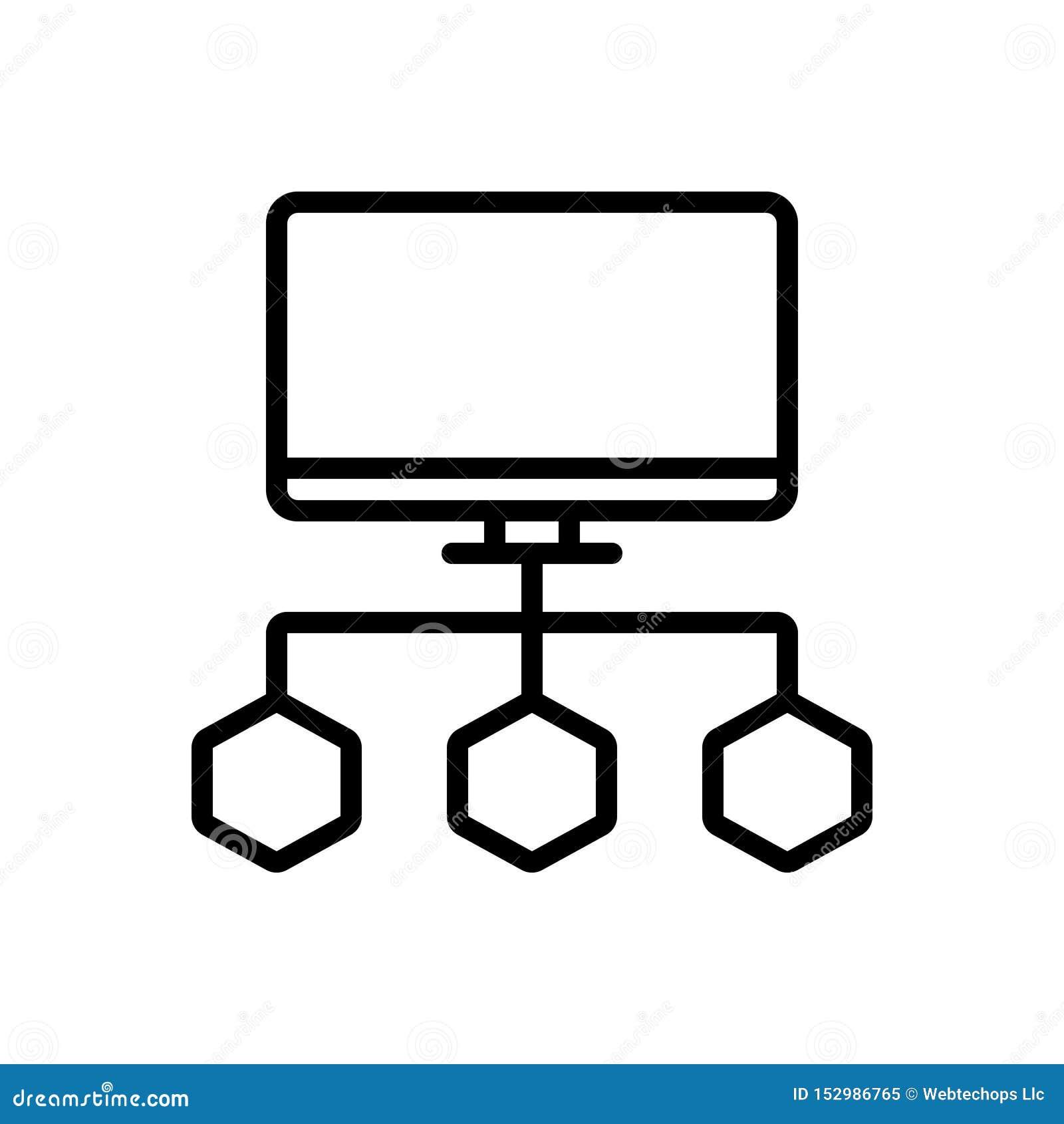Línea negra icono para los datos de Connecte, el organigrama y el proceso