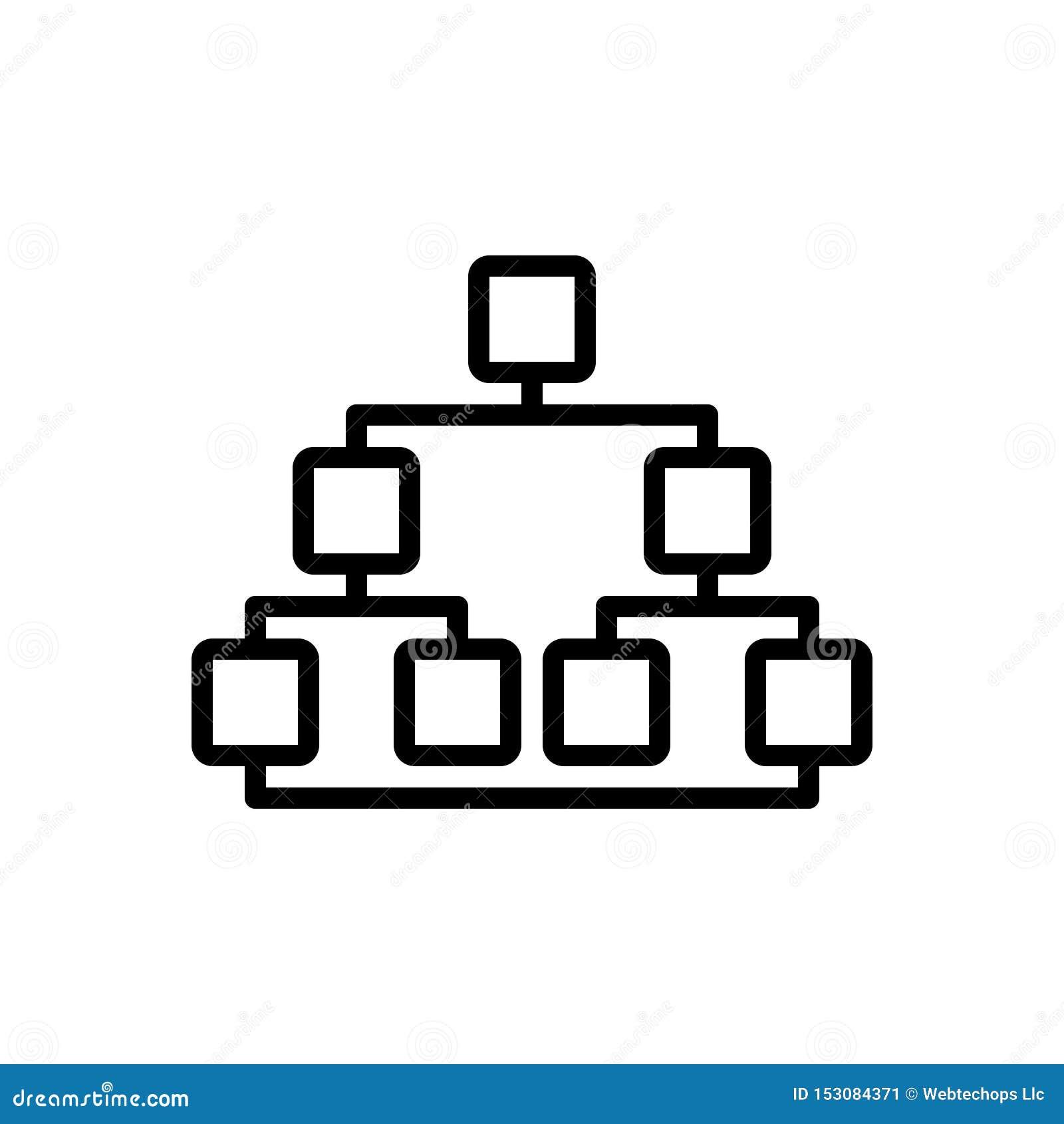 Línea negra icono para Sitemap, la página web y la organización