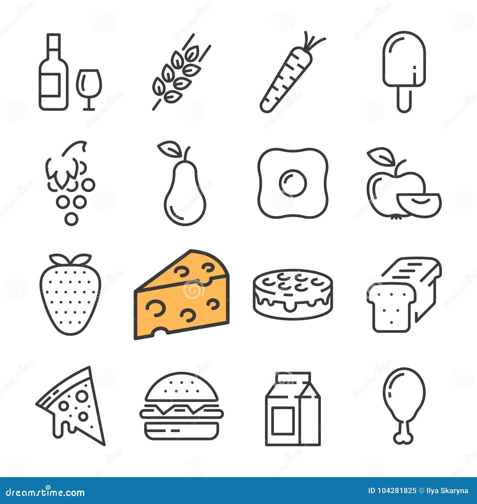 Línea negra iconos de la comida fijados Incluye los iconos tales como el vino del barril, queso, trigo, fresa, pizza