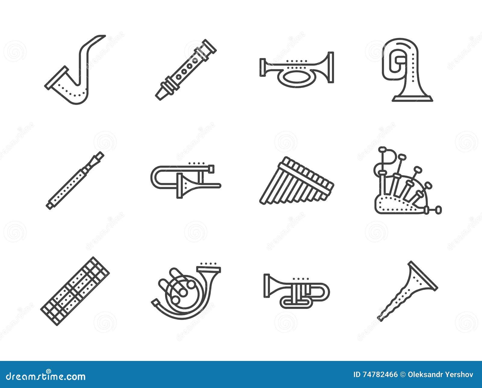 Línea negra iconos de los instrumentos musicales del viento