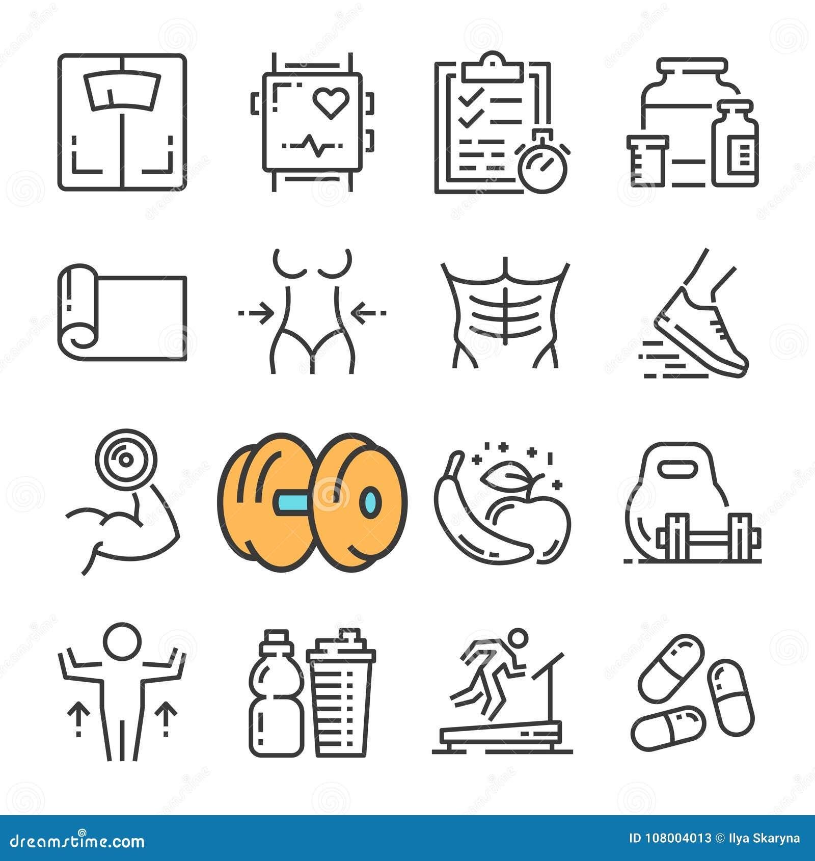 Línea negra iconos del vector del equipo del gimnasio de la aptitud fijados Incluye los iconos tales como aptitud del equipo, muj